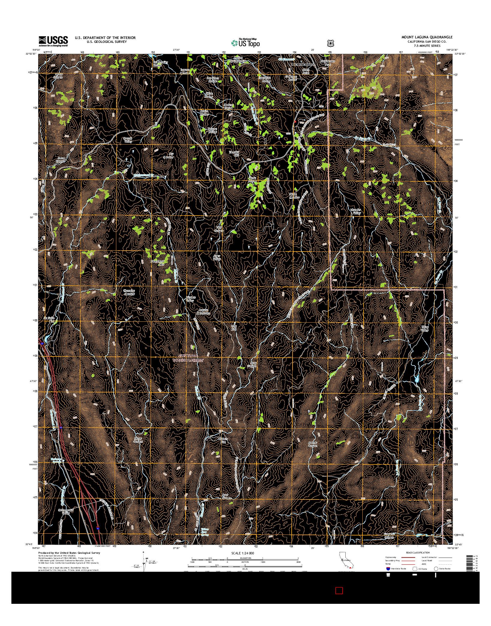 USGS US TOPO 7.5-MINUTE MAP FOR MOUNT LAGUNA, CA 2015