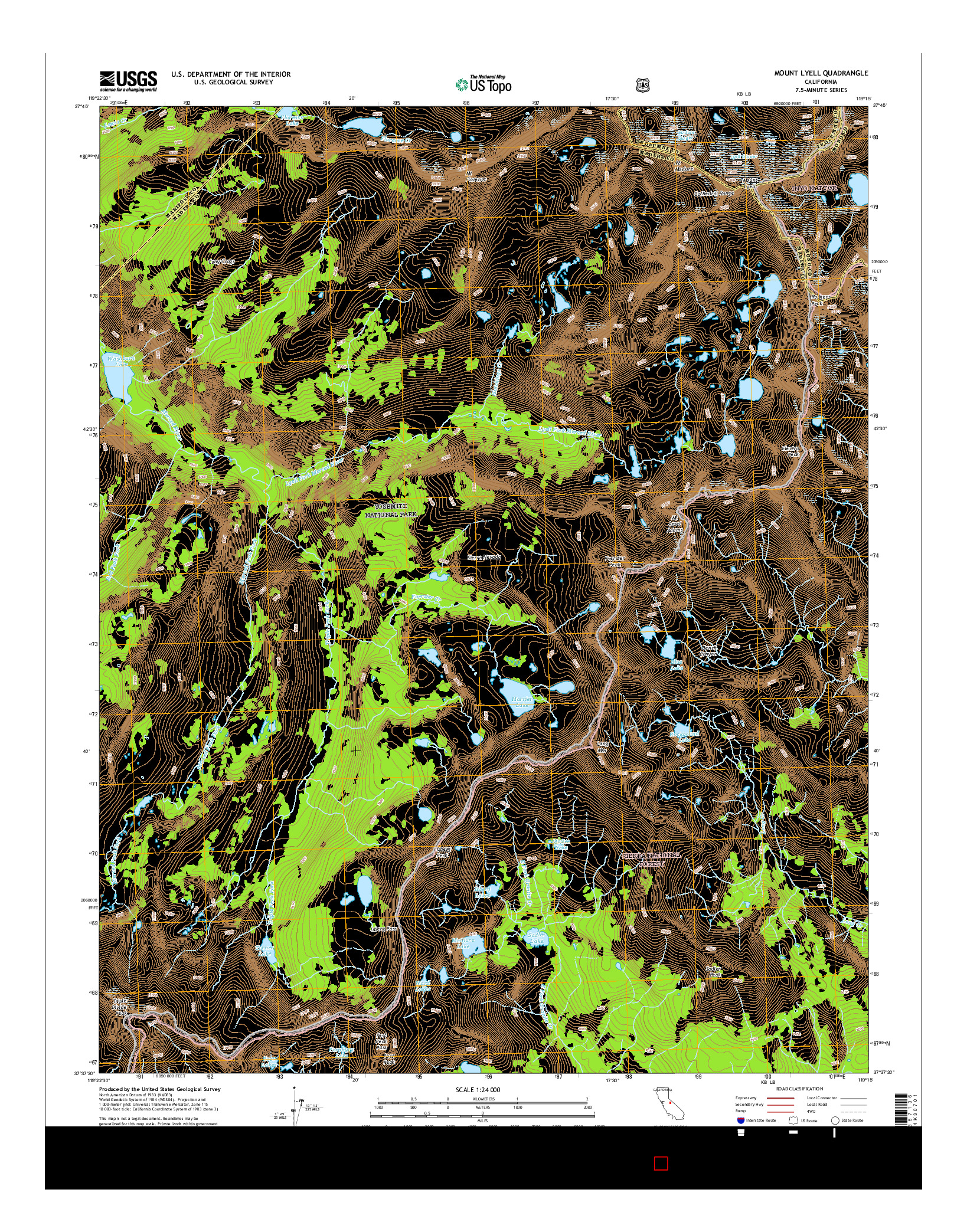 USGS US TOPO 7.5-MINUTE MAP FOR MOUNT LYELL, CA 2015
