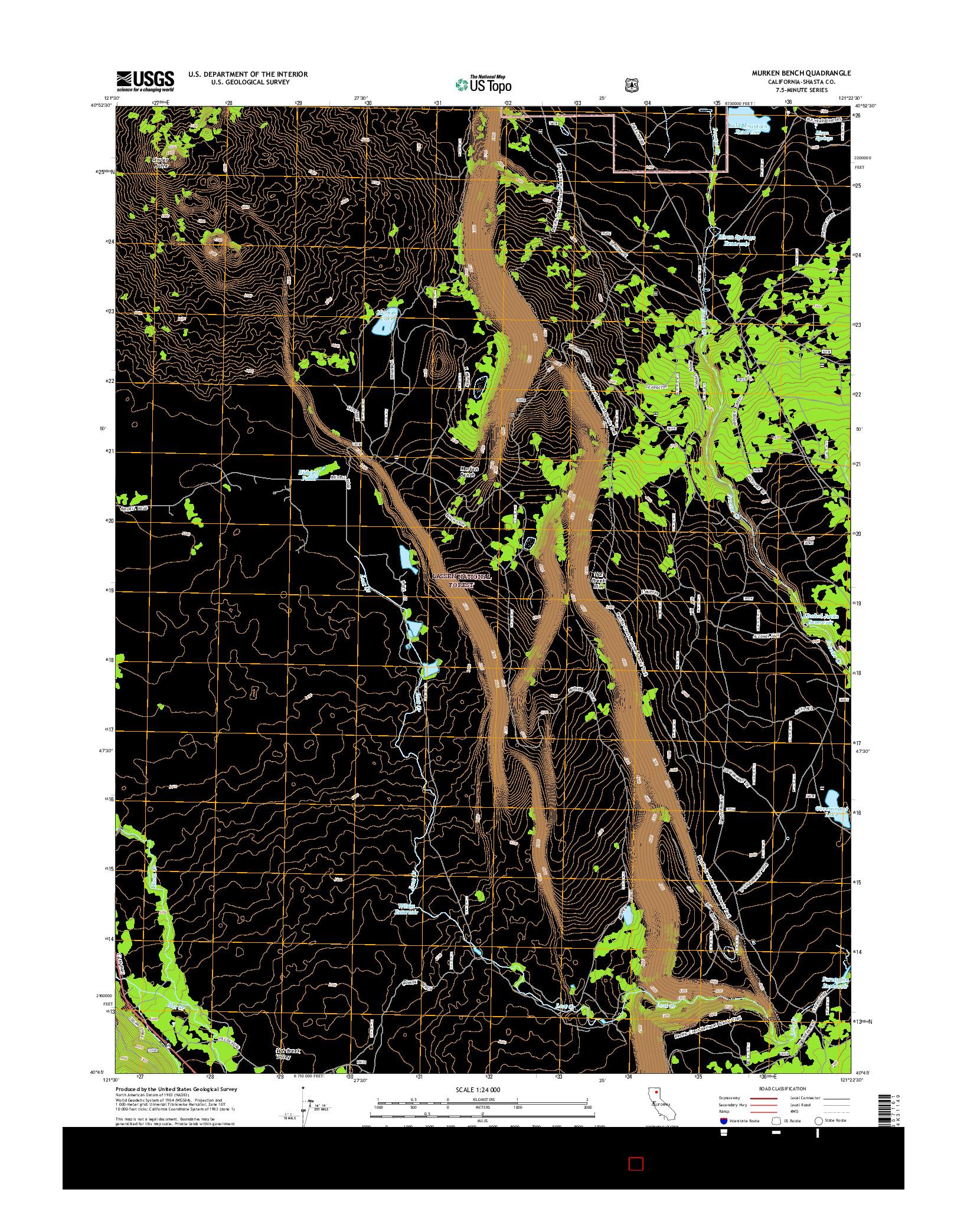 USGS US TOPO 7.5-MINUTE MAP FOR MURKEN BENCH, CA 2015