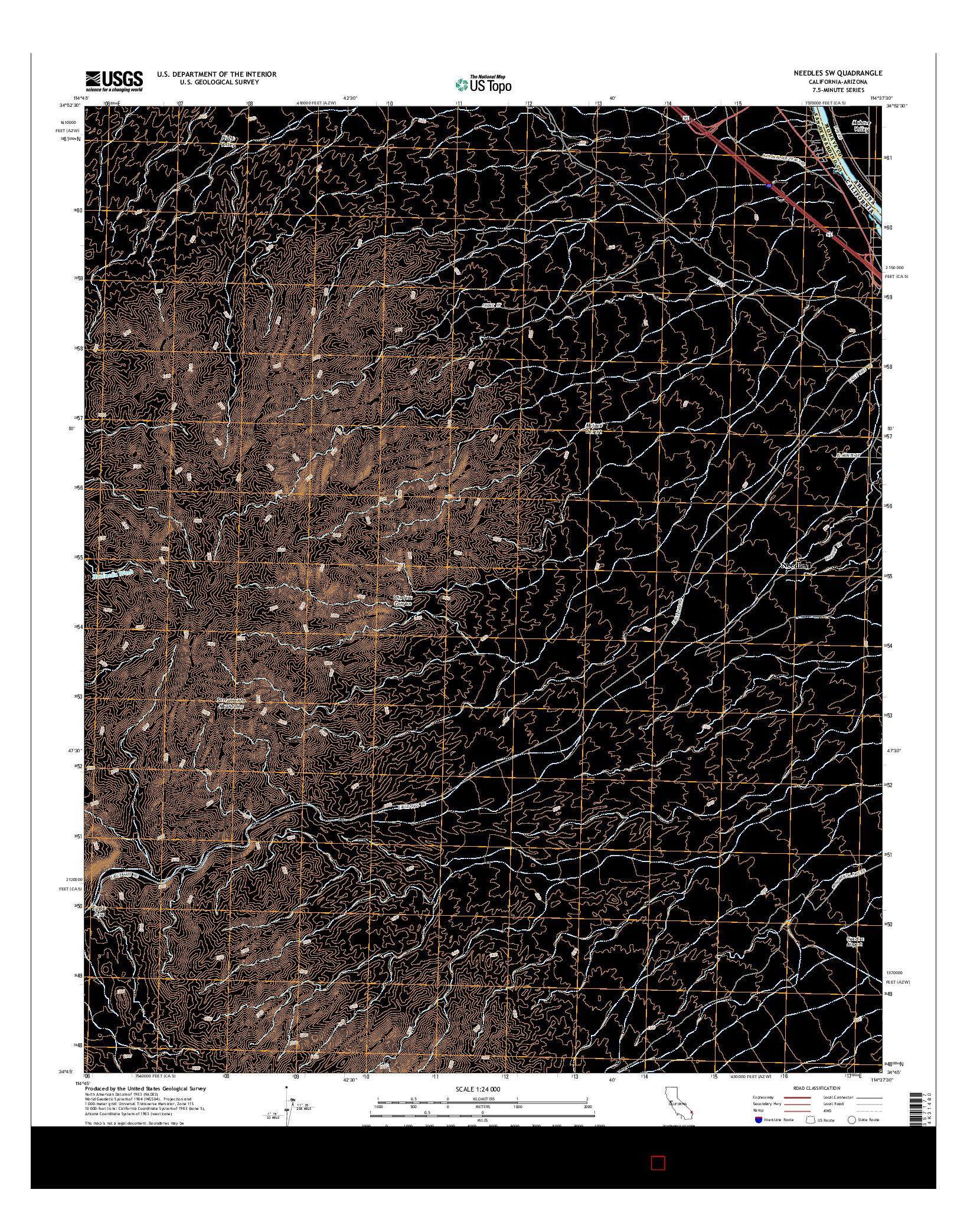 USGS US TOPO 7.5-MINUTE MAP FOR NEEDLES SW, CA-AZ 2015