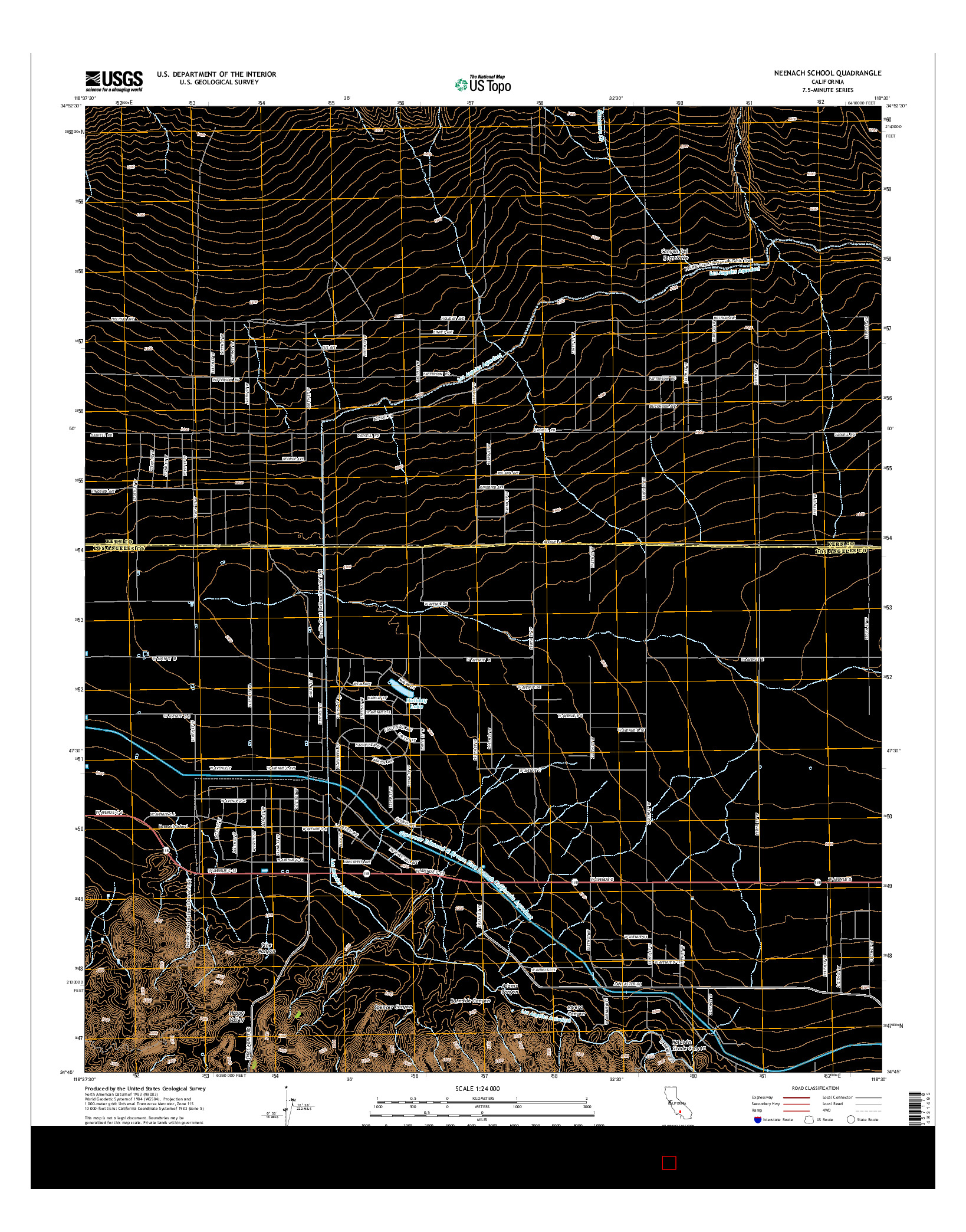 USGS US TOPO 7.5-MINUTE MAP FOR NEENACH SCHOOL, CA 2015
