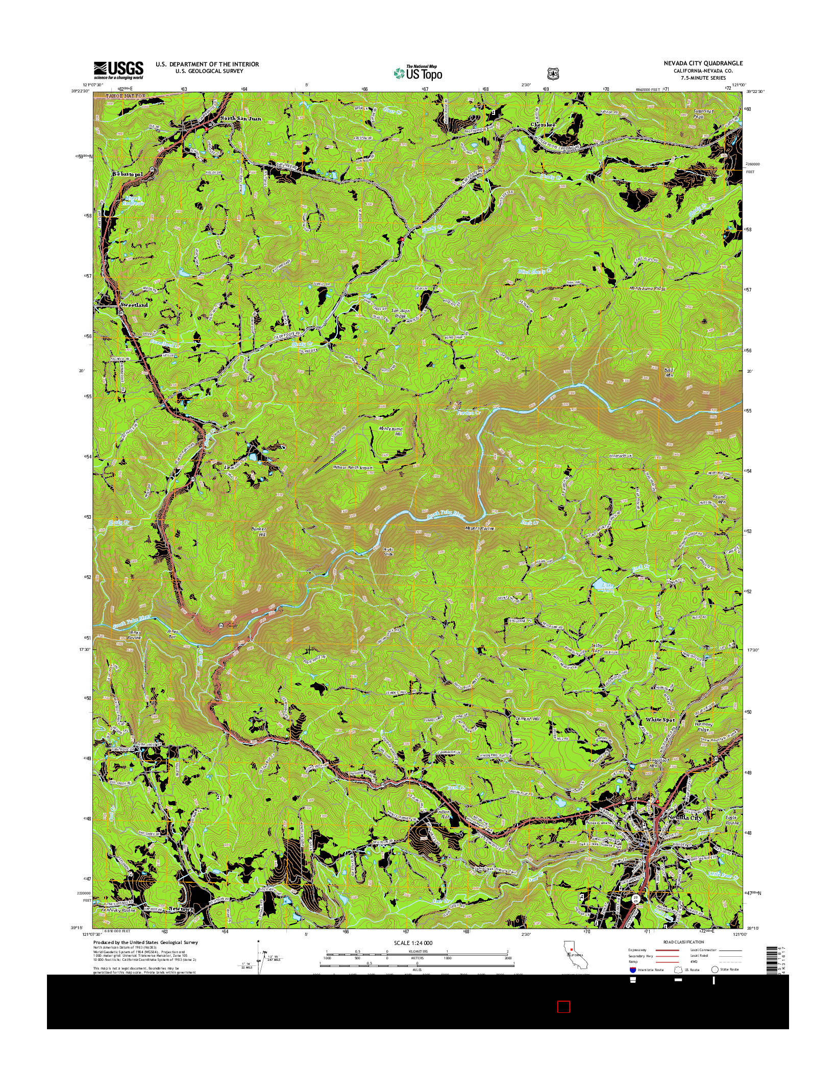 USGS US TOPO 7.5-MINUTE MAP FOR NEVADA CITY, CA 2015