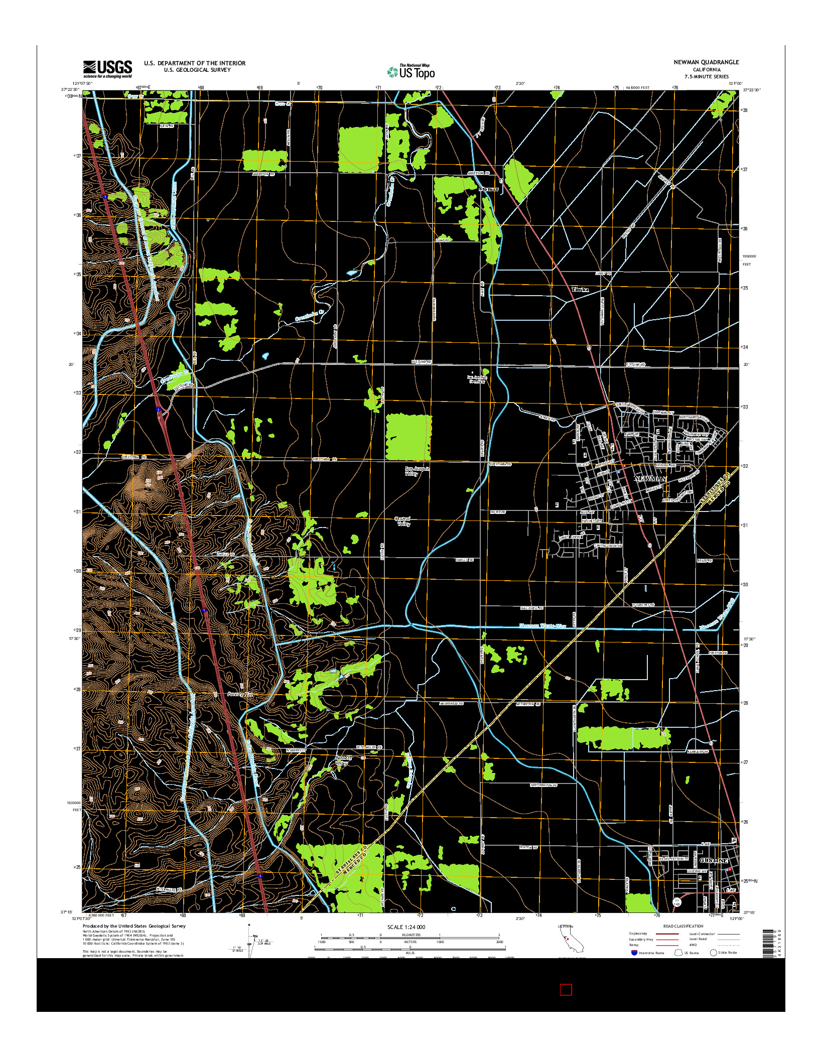 USGS US TOPO 7.5-MINUTE MAP FOR NEWMAN, CA 2015