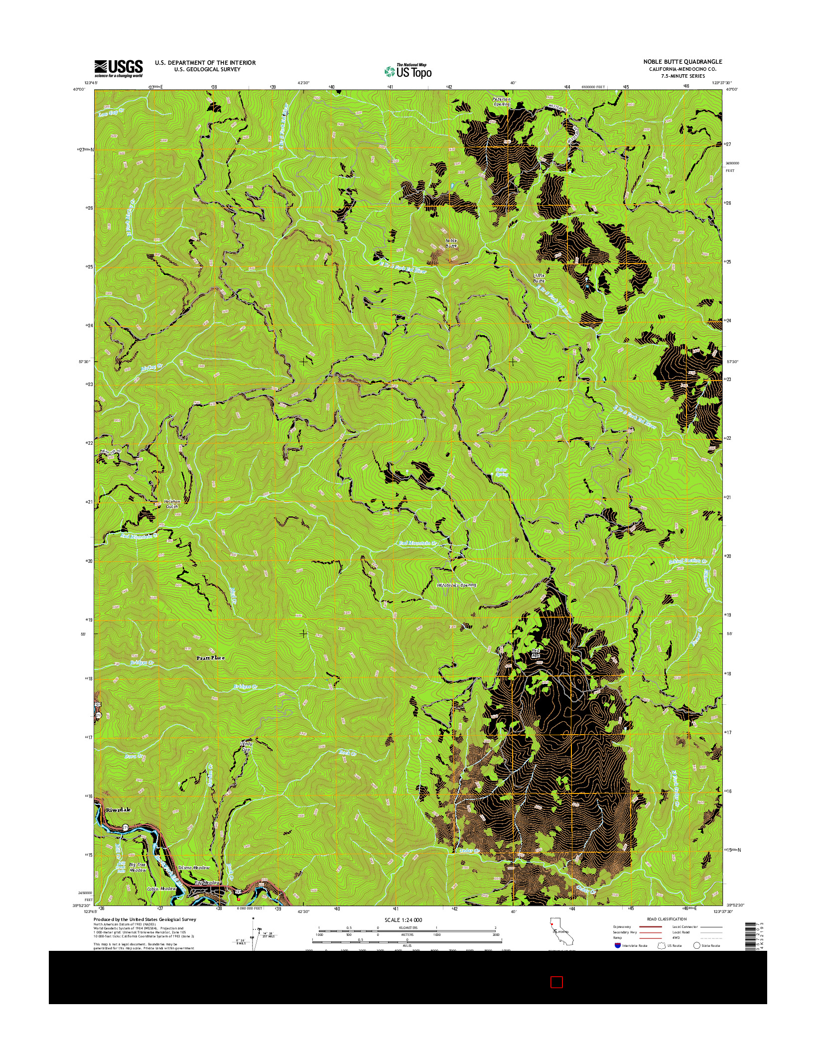 USGS US TOPO 7.5-MINUTE MAP FOR NOBLE BUTTE, CA 2015