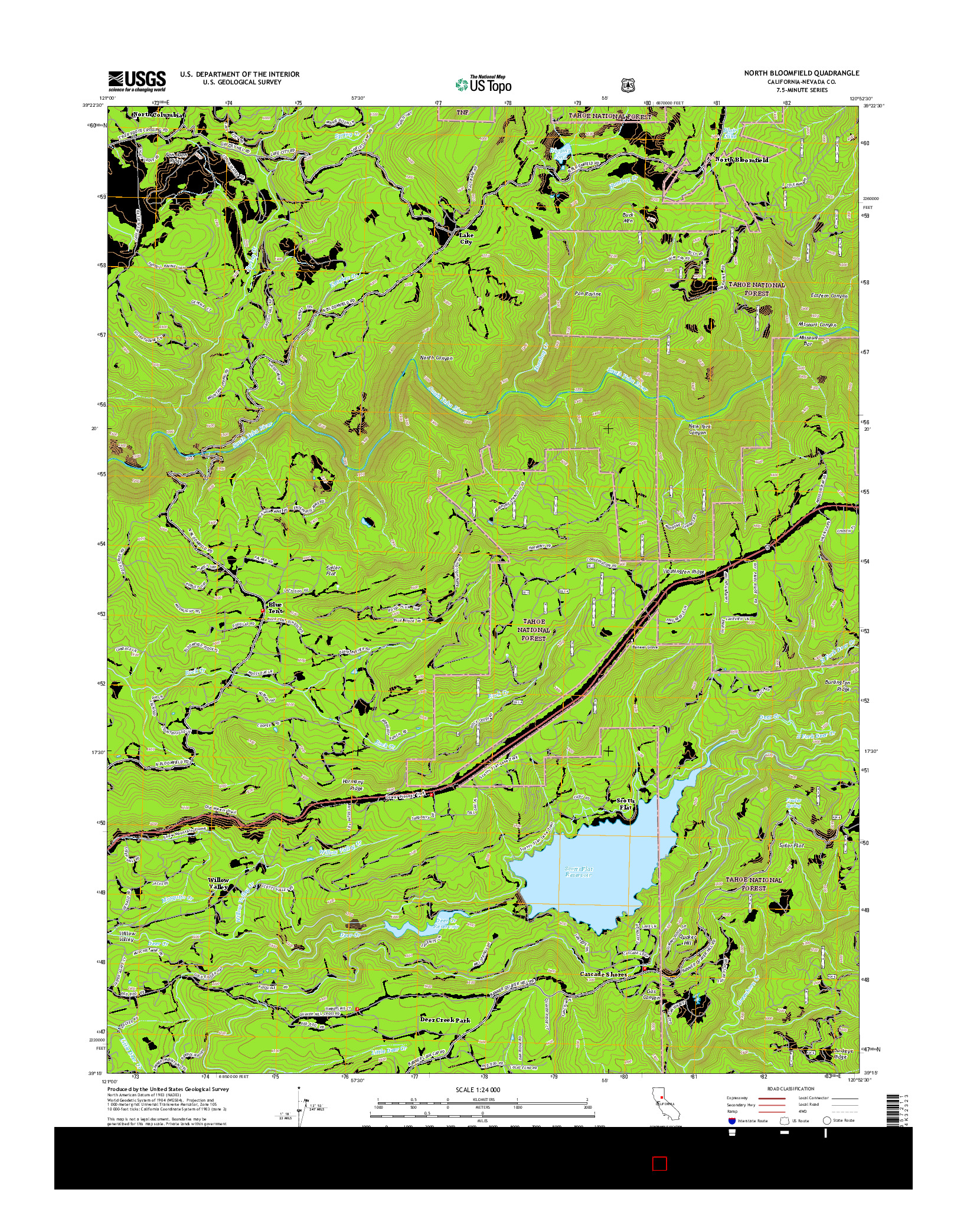 USGS US TOPO 7.5-MINUTE MAP FOR NORTH BLOOMFIELD, CA 2015