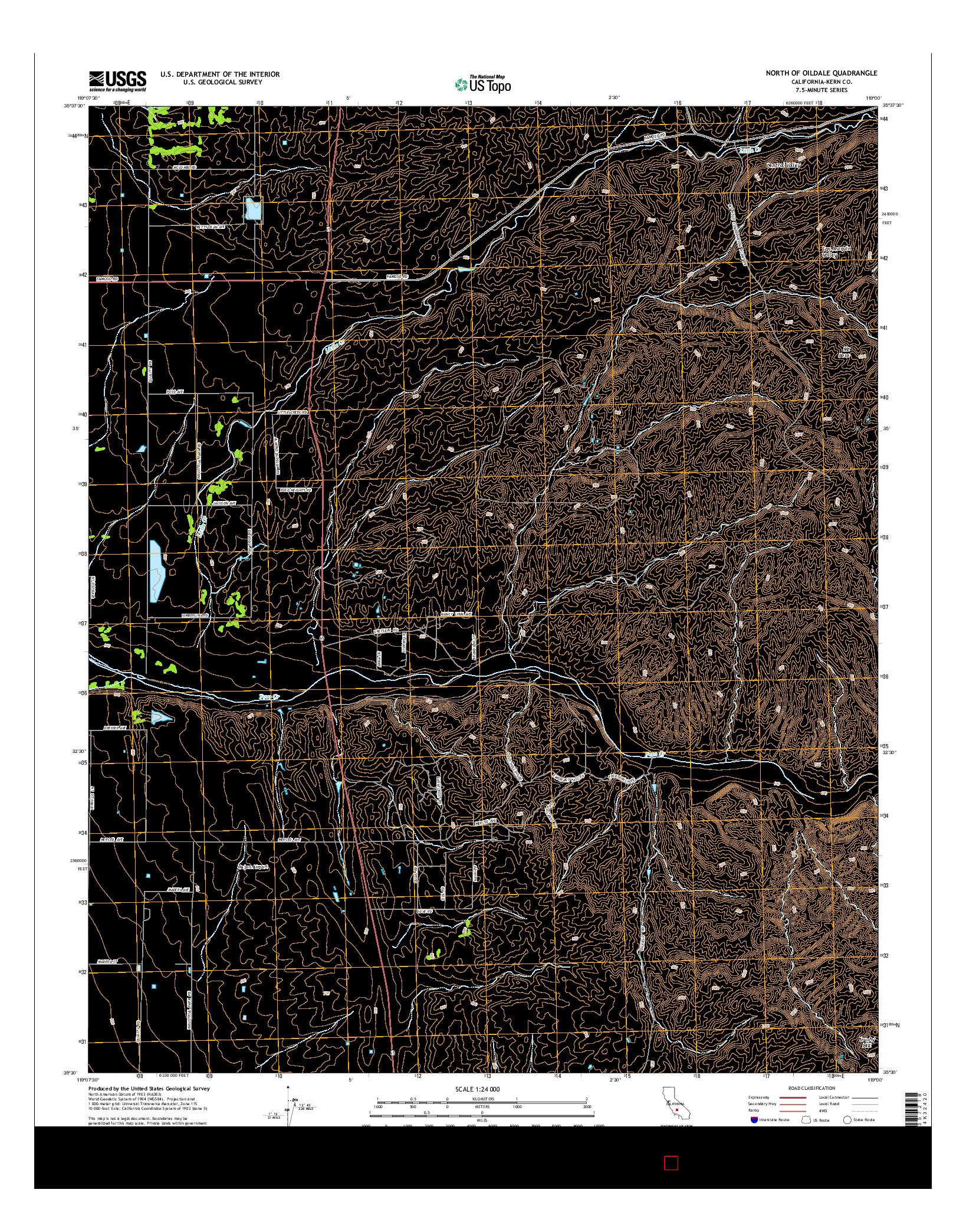 USGS US TOPO 7.5-MINUTE MAP FOR NORTH OF OILDALE, CA 2015