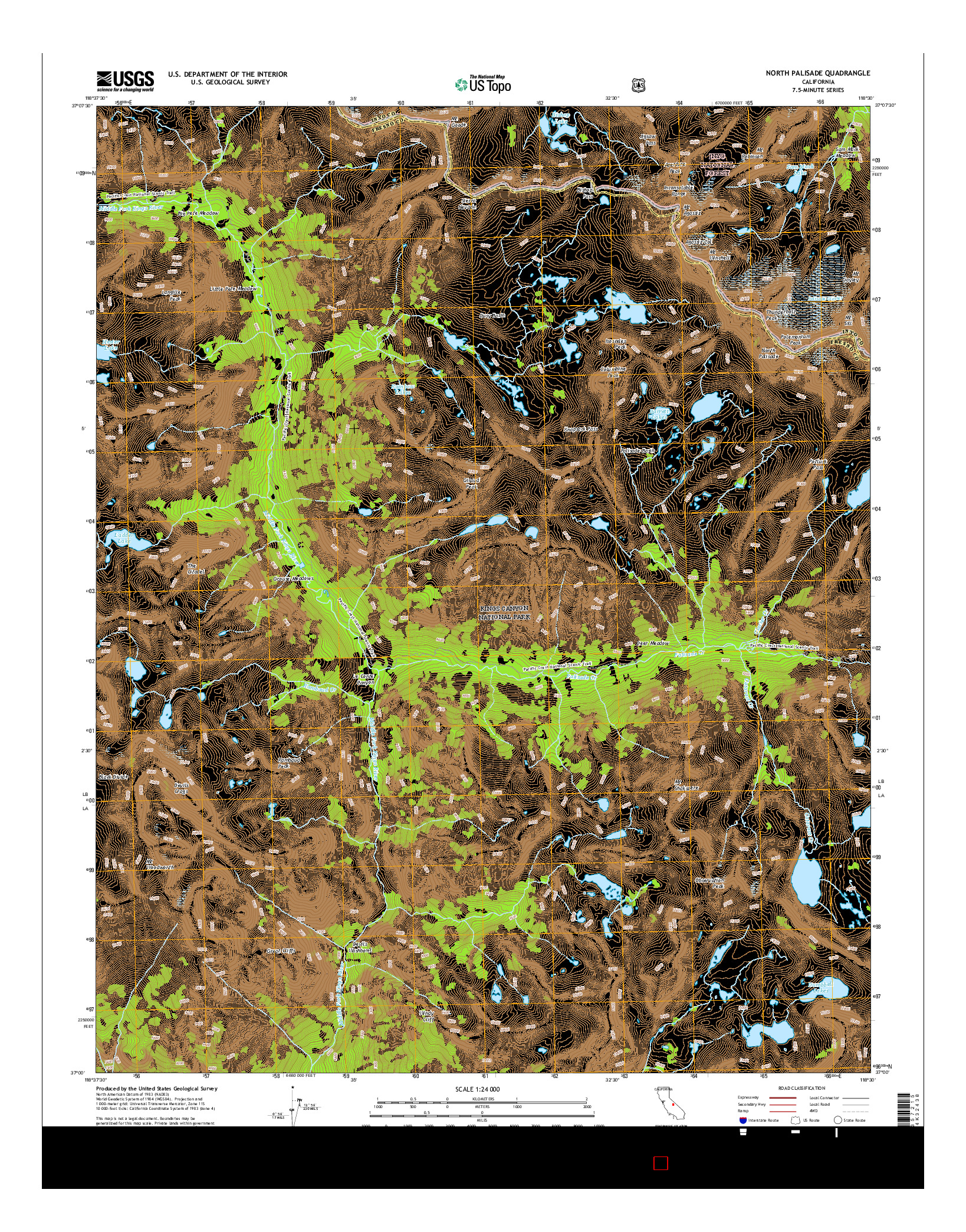 USGS US TOPO 7.5-MINUTE MAP FOR NORTH PALISADE, CA 2015