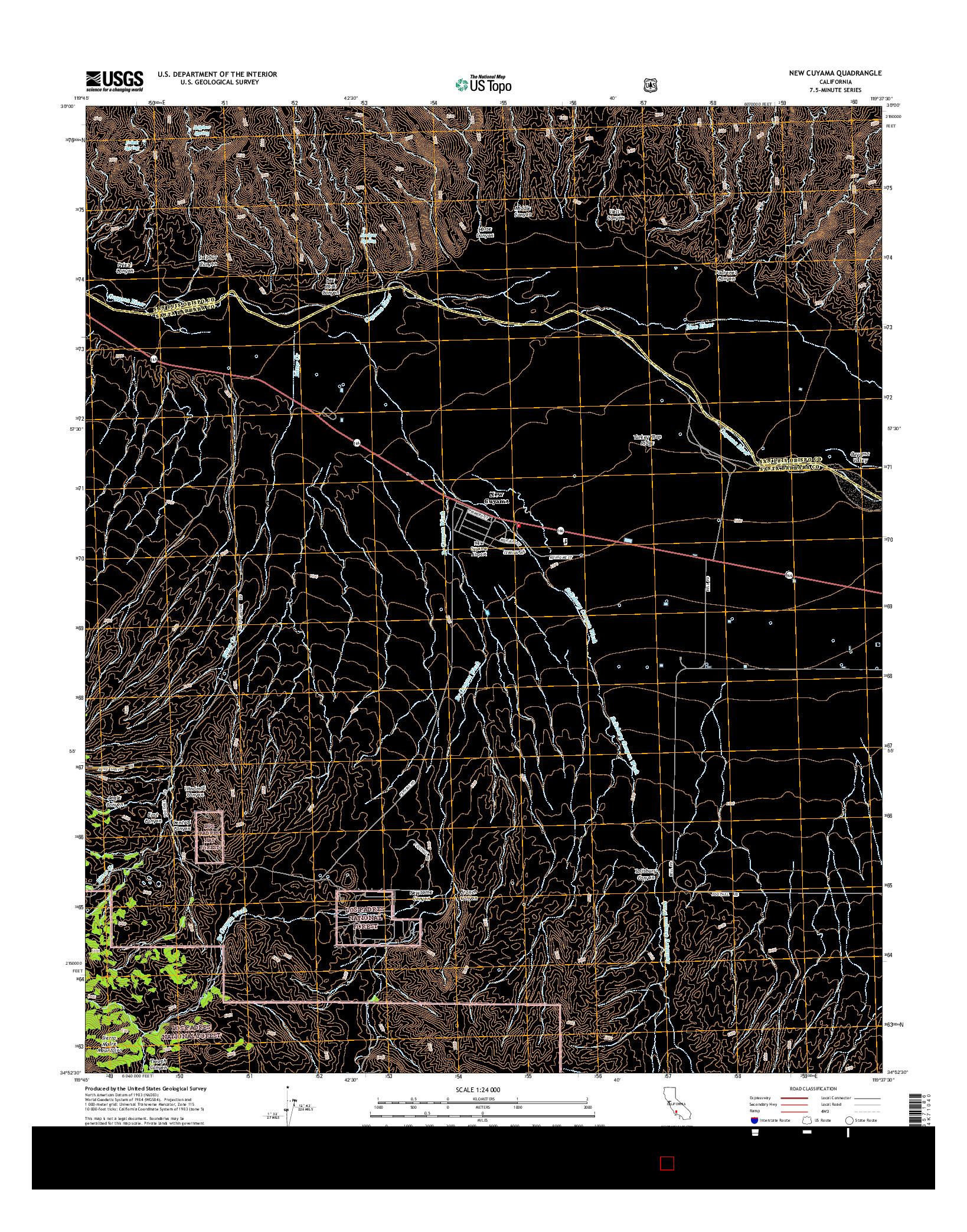 USGS US TOPO 7.5-MINUTE MAP FOR NEW CUYAMA, CA 2015