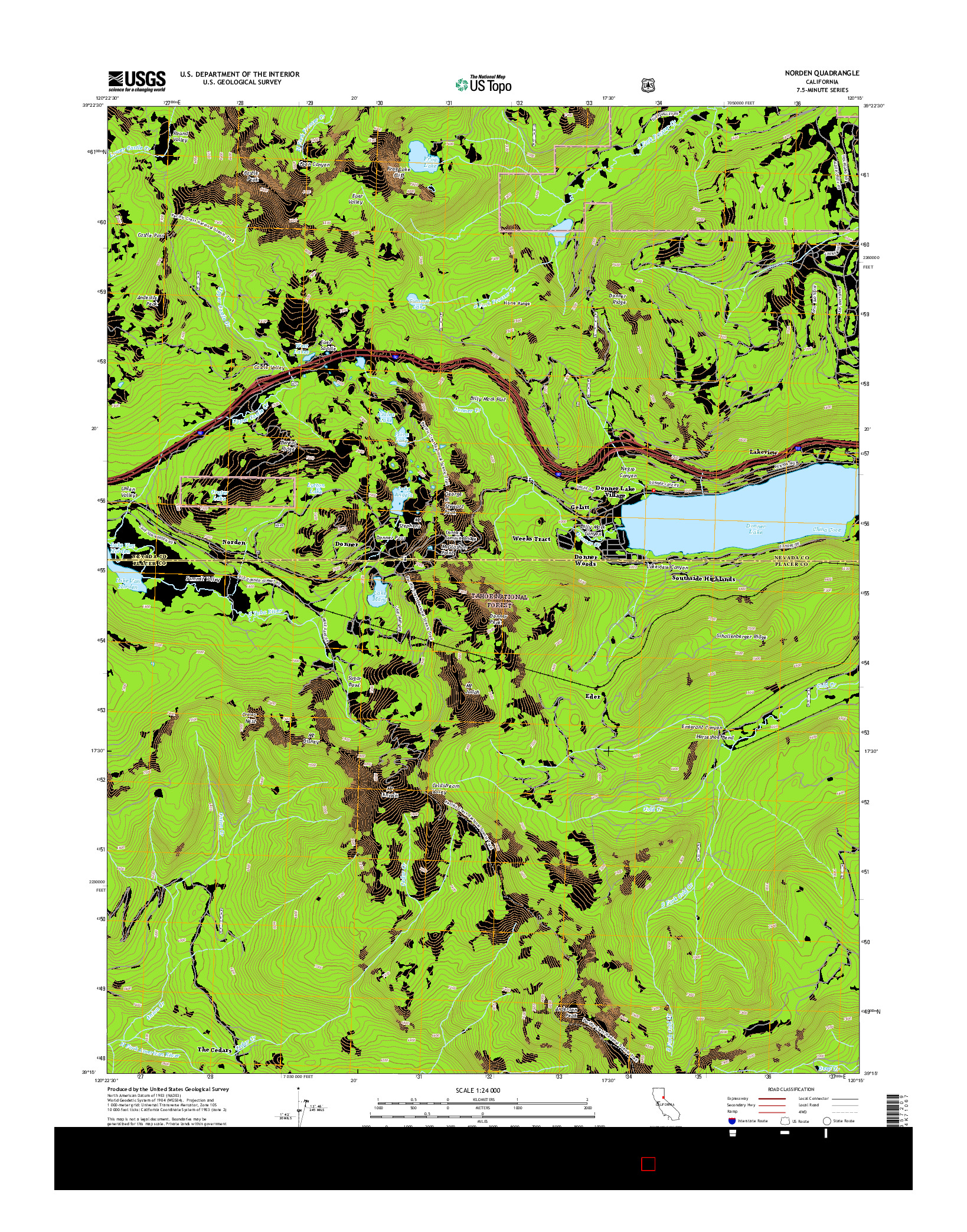 USGS US TOPO 7.5-MINUTE MAP FOR NORDEN, CA 2015
