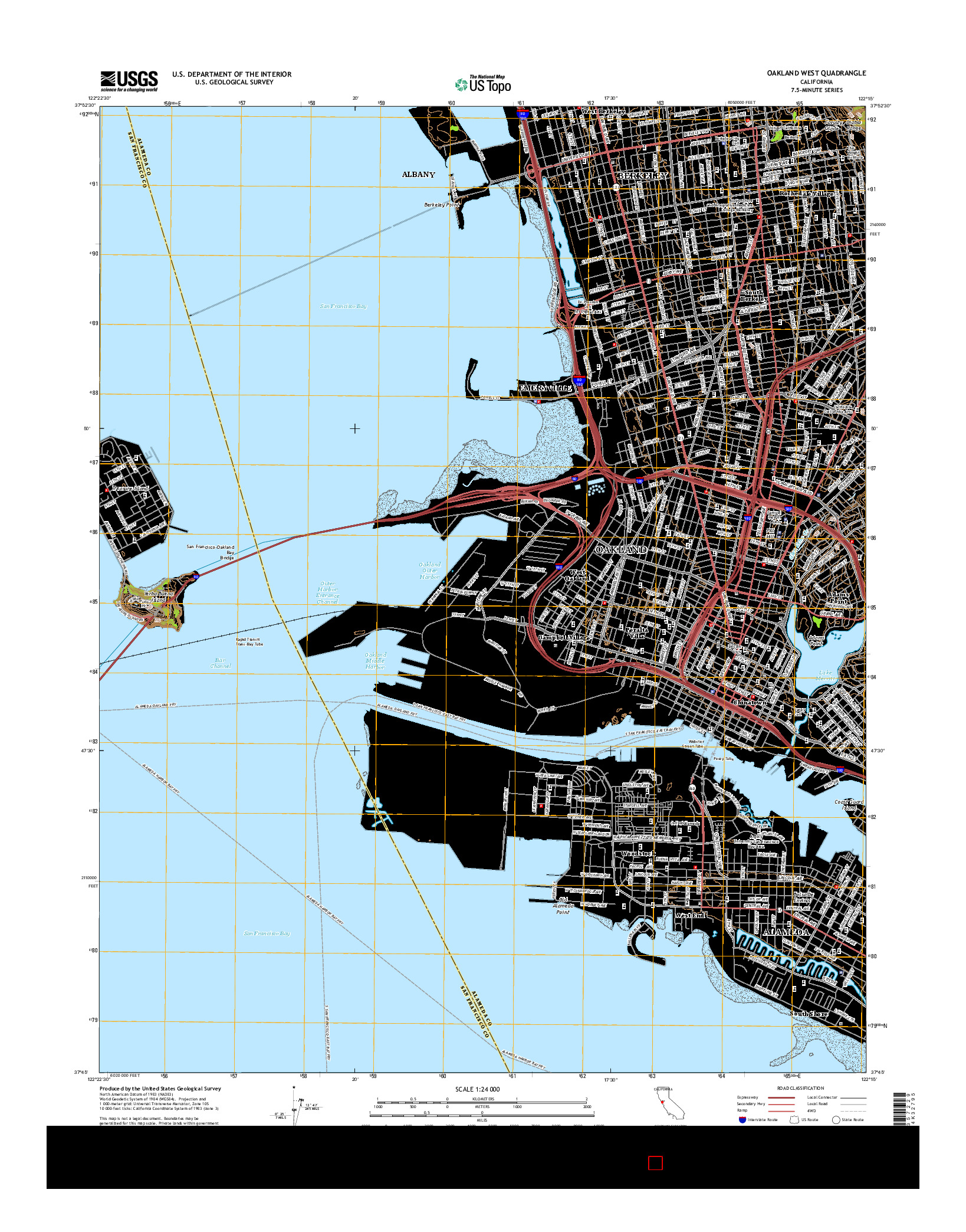 USGS US TOPO 7.5-MINUTE MAP FOR OAKLAND WEST, CA 2015