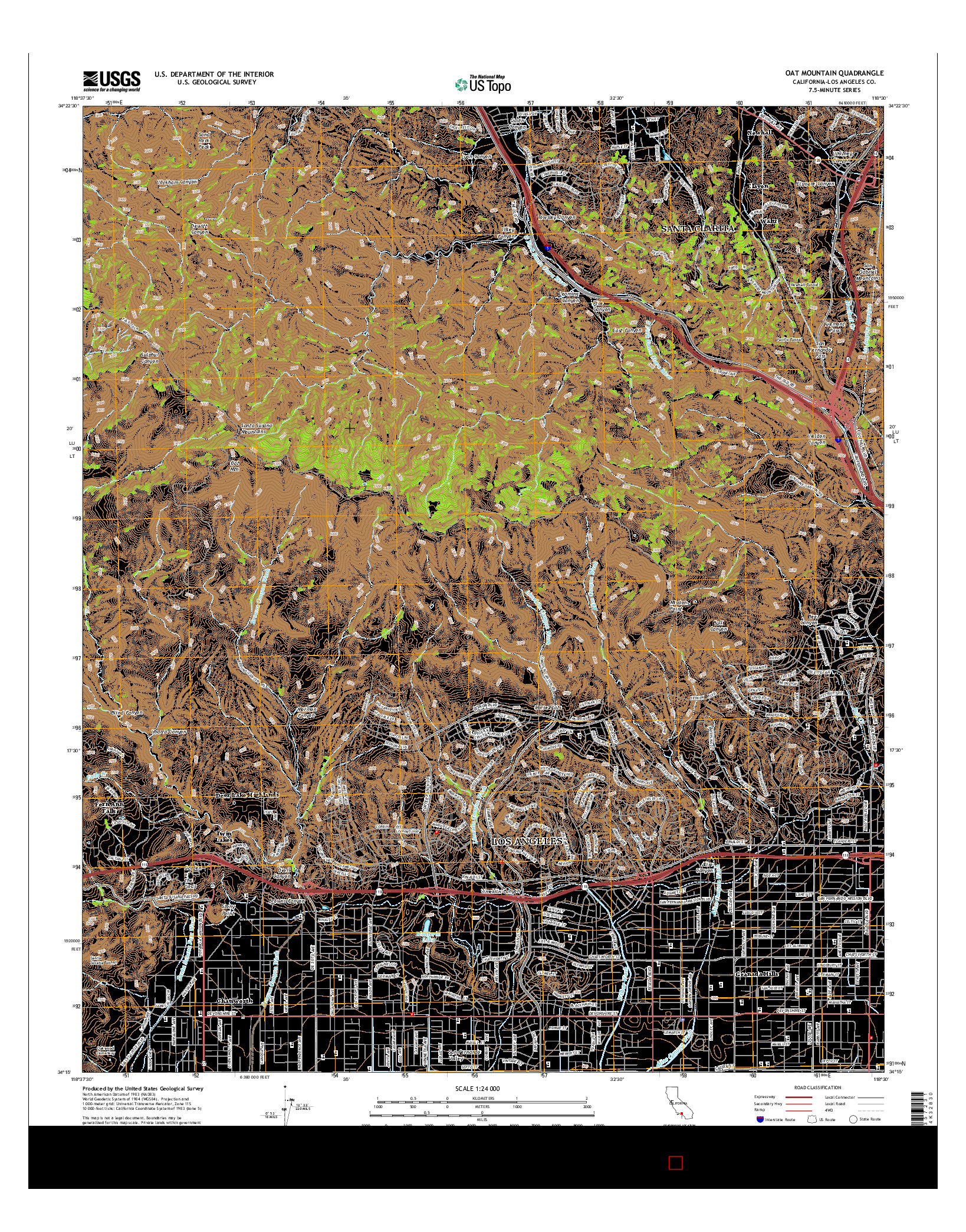 USGS US TOPO 7.5-MINUTE MAP FOR OAT MOUNTAIN, CA 2015