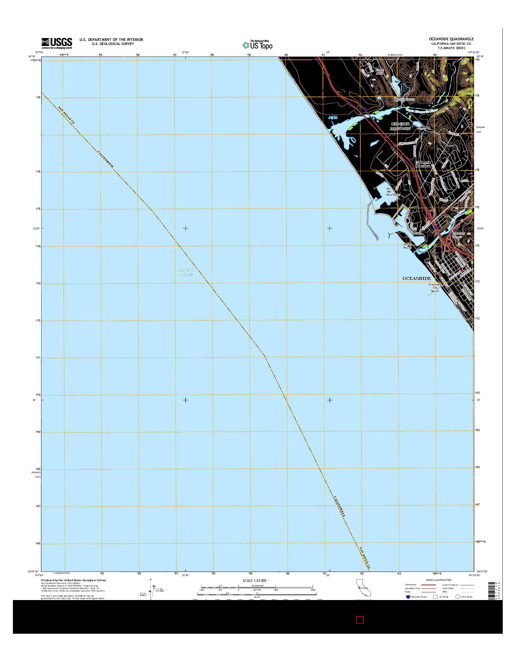USGS US TOPO 7.5-MINUTE MAP FOR OCEANSIDE, CA 2015