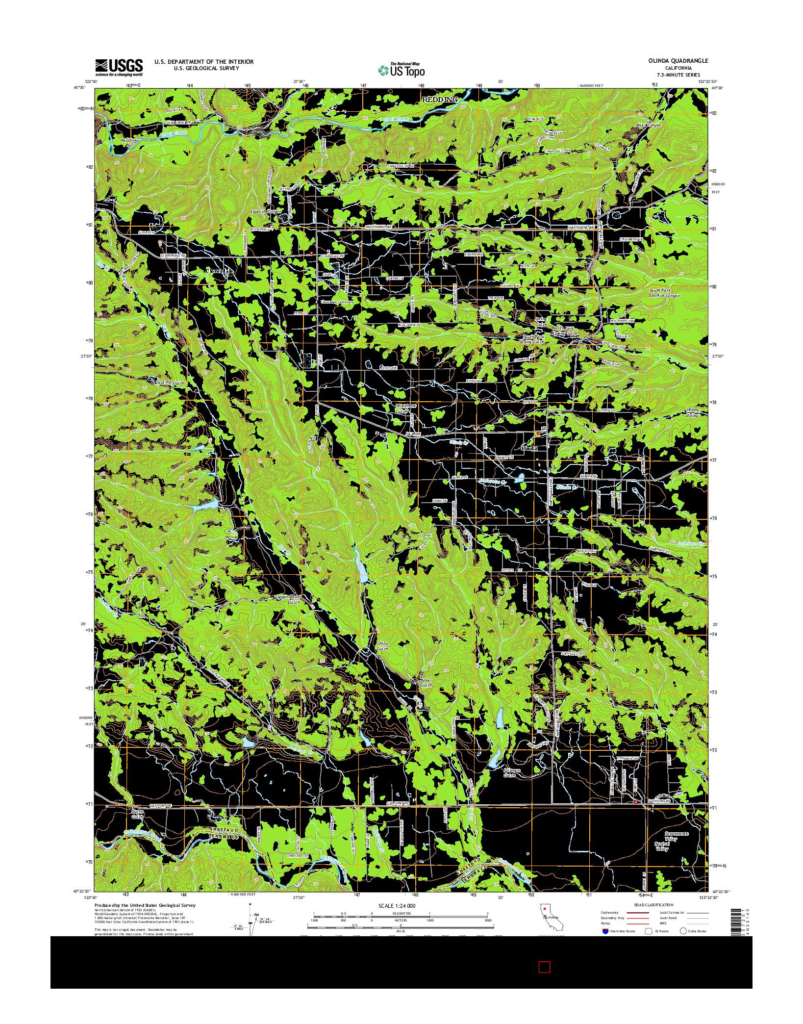 USGS US TOPO 7.5-MINUTE MAP FOR OLINDA, CA 2015