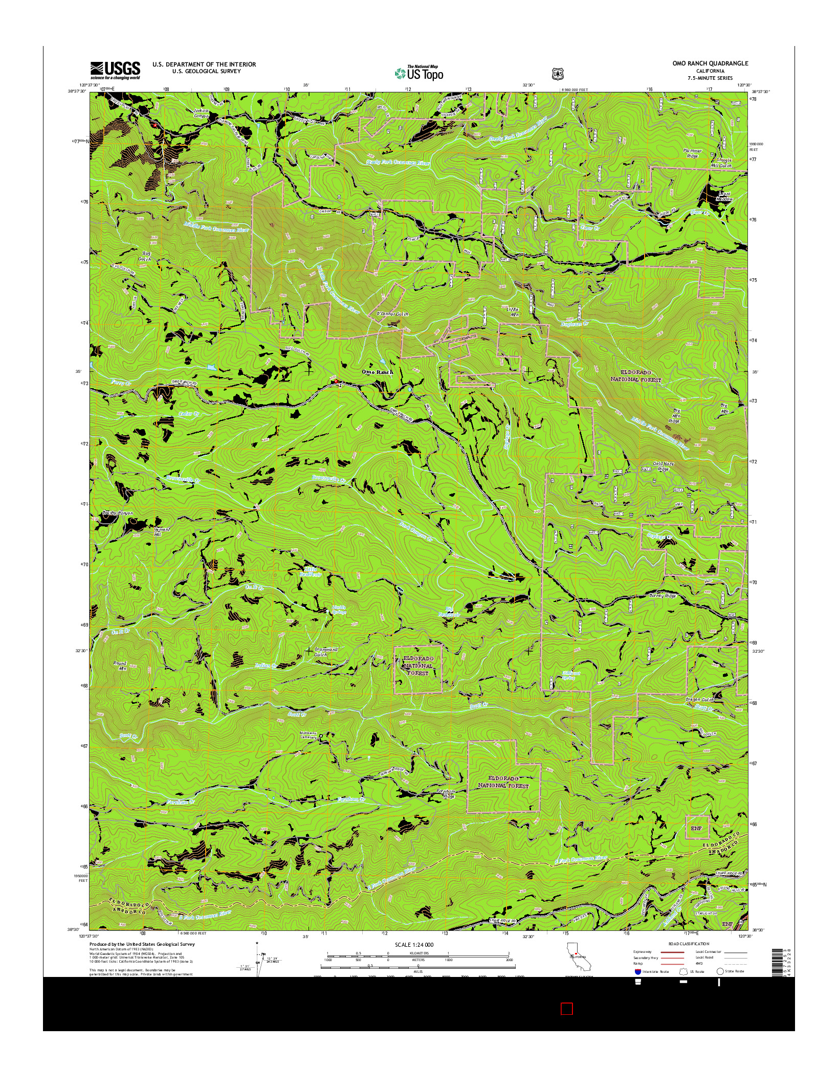 USGS US TOPO 7.5-MINUTE MAP FOR OMO RANCH, CA 2015