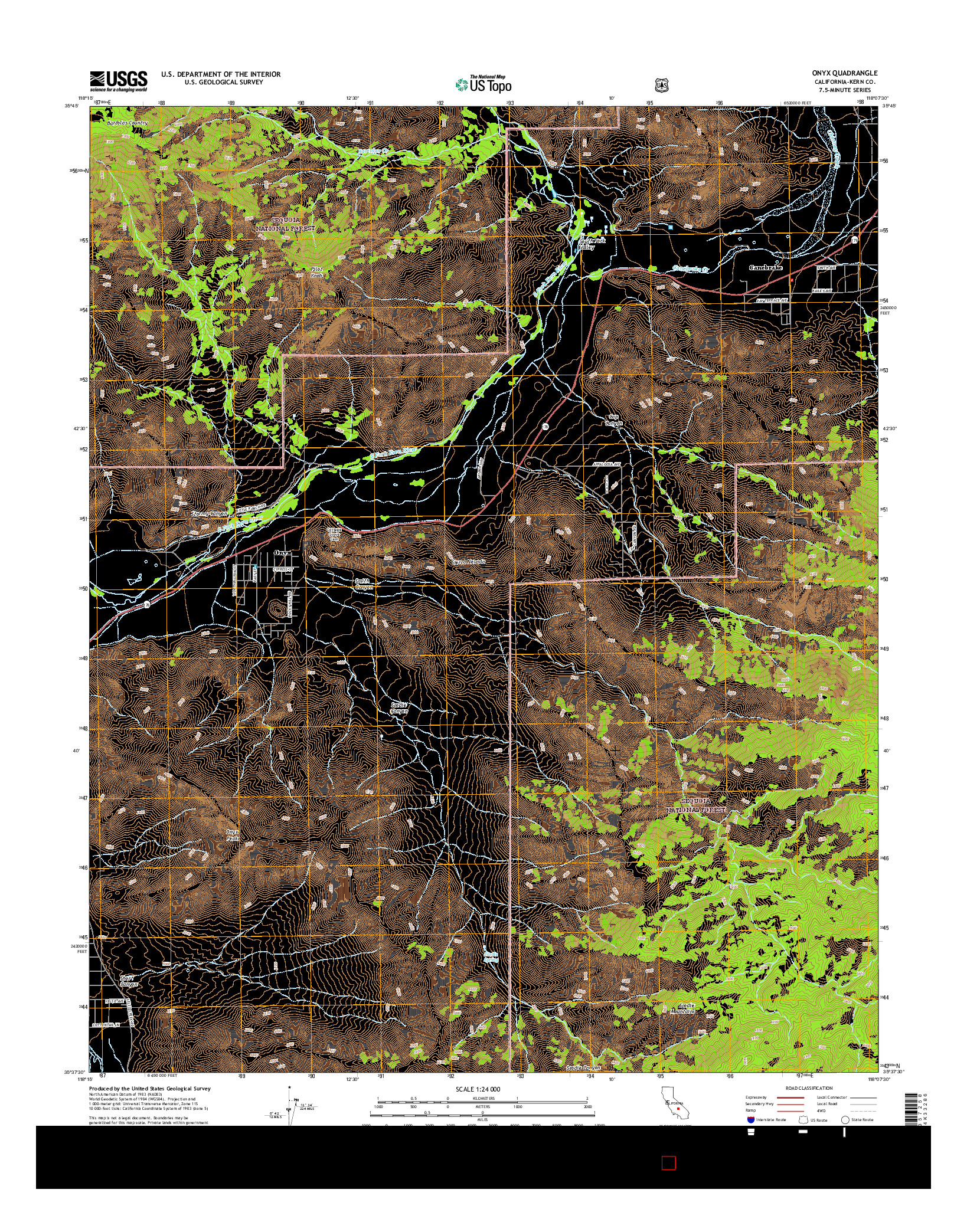 USGS US TOPO 7.5-MINUTE MAP FOR ONYX, CA 2015