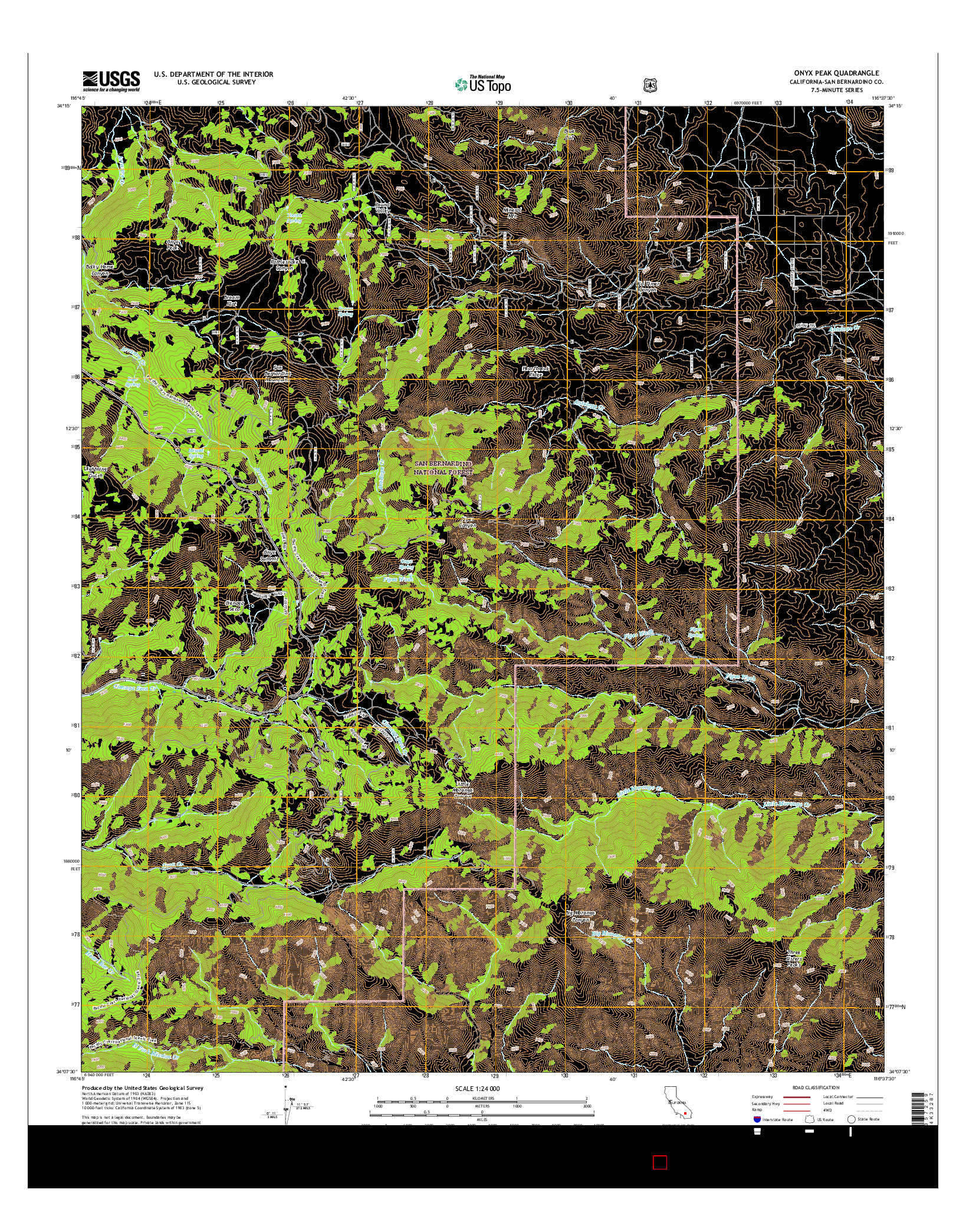 USGS US TOPO 7.5-MINUTE MAP FOR ONYX PEAK, CA 2015