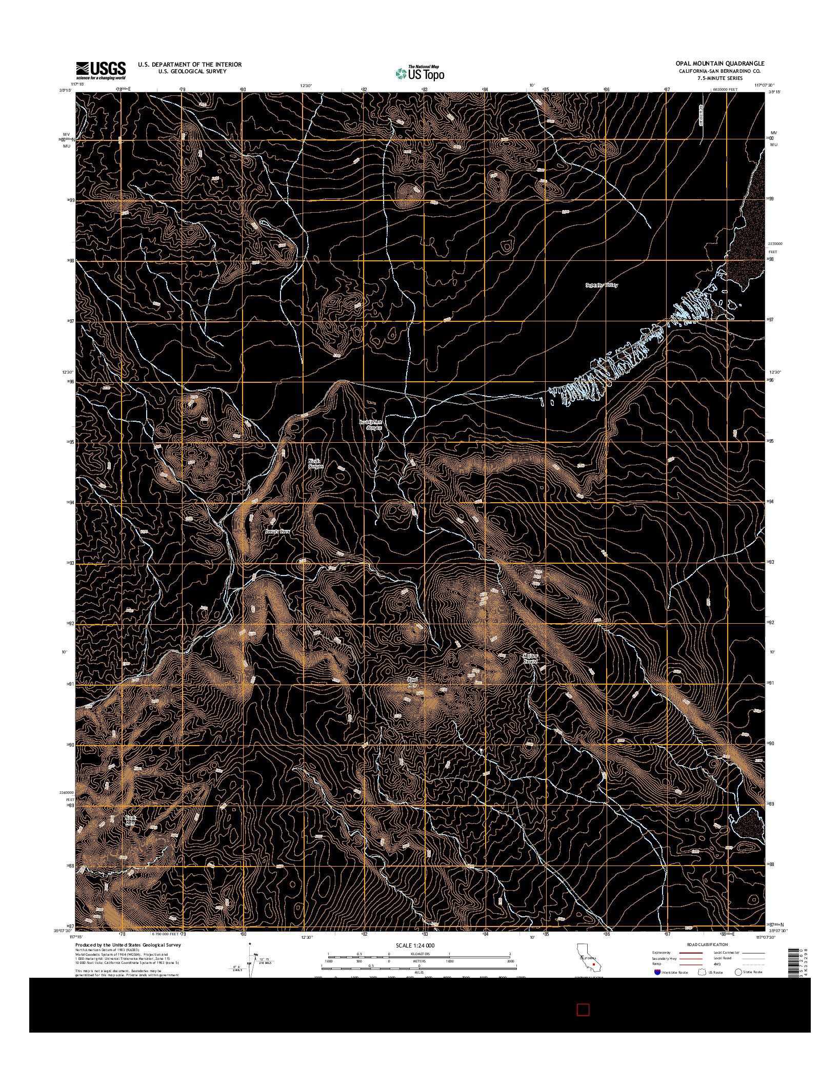 USGS US TOPO 7.5-MINUTE MAP FOR OPAL MOUNTAIN, CA 2015