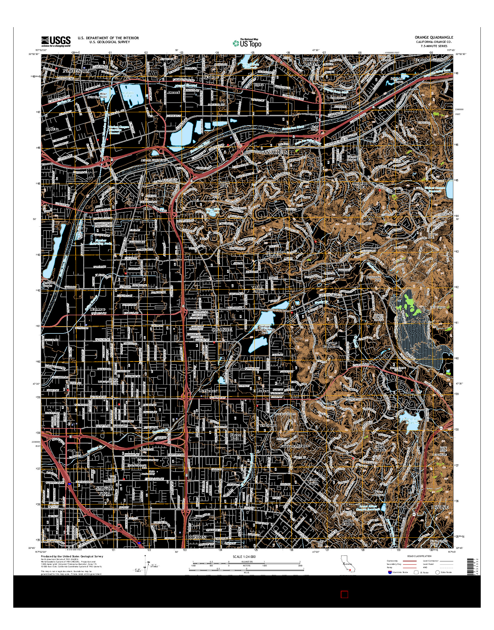USGS US TOPO 7.5-MINUTE MAP FOR ORANGE, CA 2015