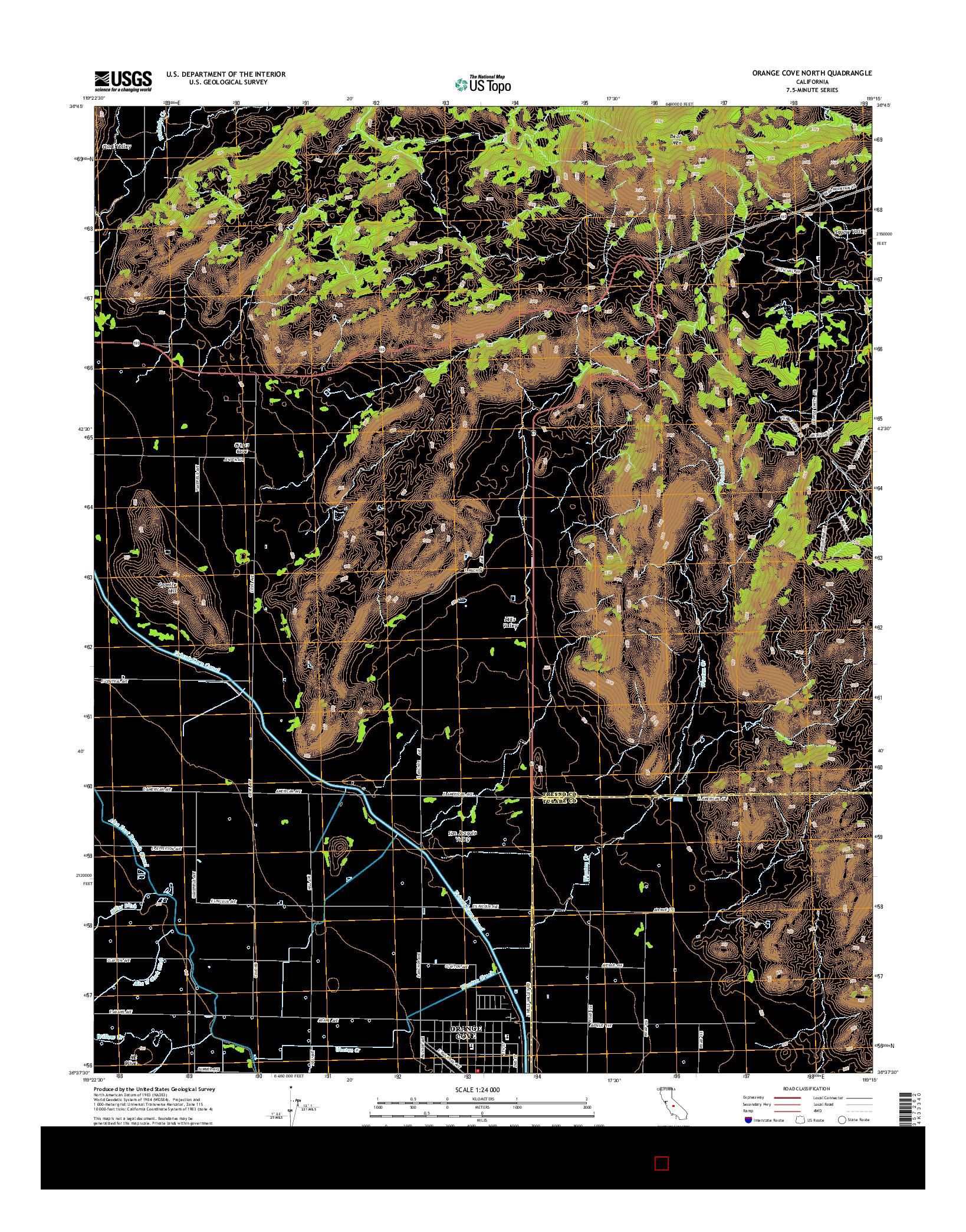 USGS US TOPO 7.5-MINUTE MAP FOR ORANGE COVE NORTH, CA 2015