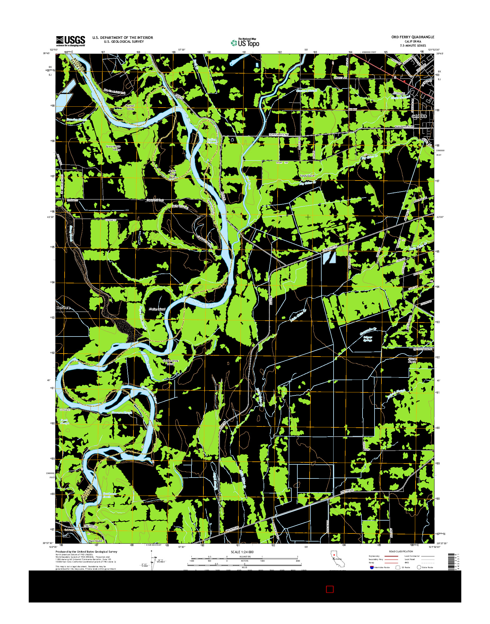 USGS US TOPO 7.5-MINUTE MAP FOR ORD FERRY, CA 2015