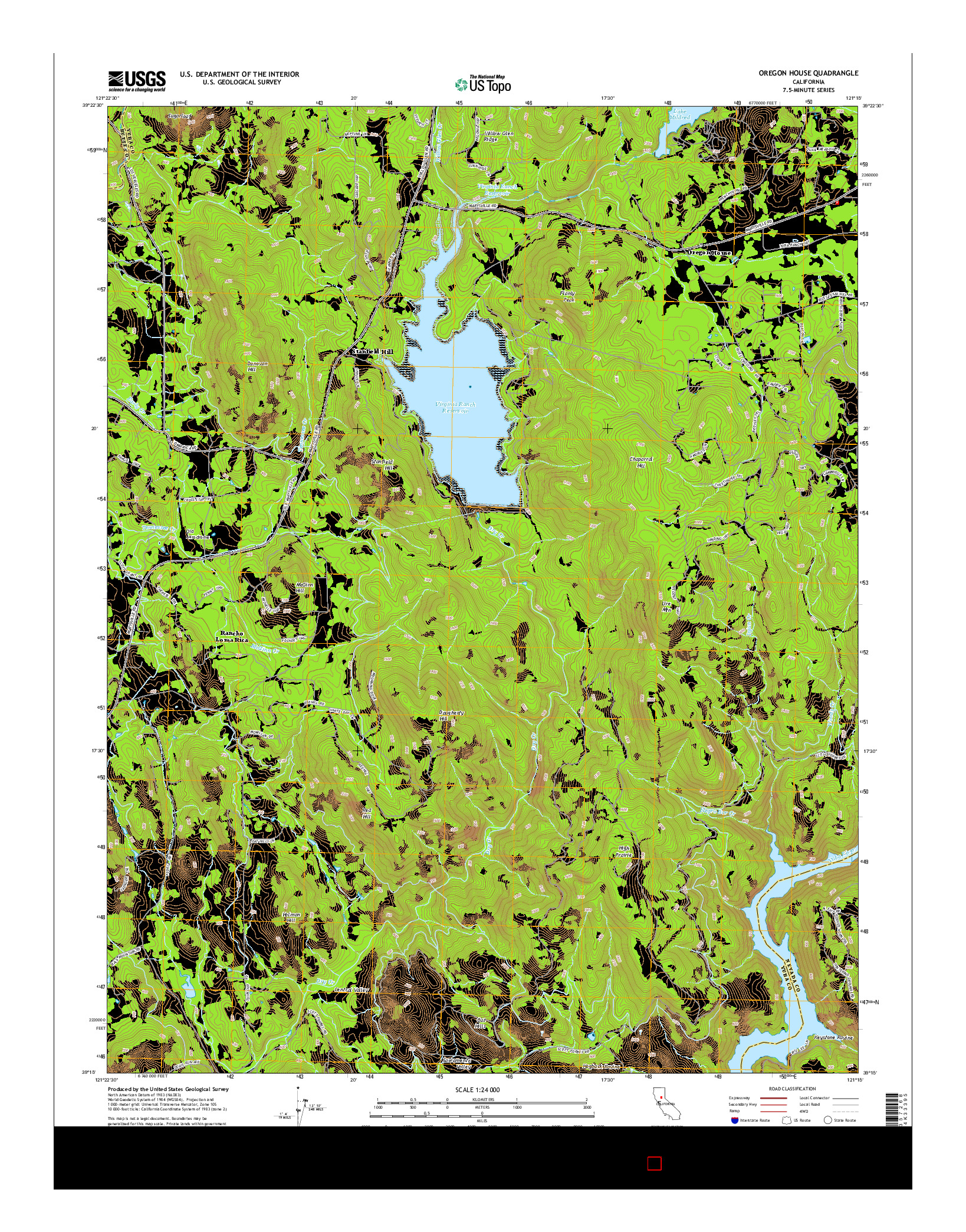 USGS US TOPO 7.5-MINUTE MAP FOR OREGON HOUSE, CA 2015