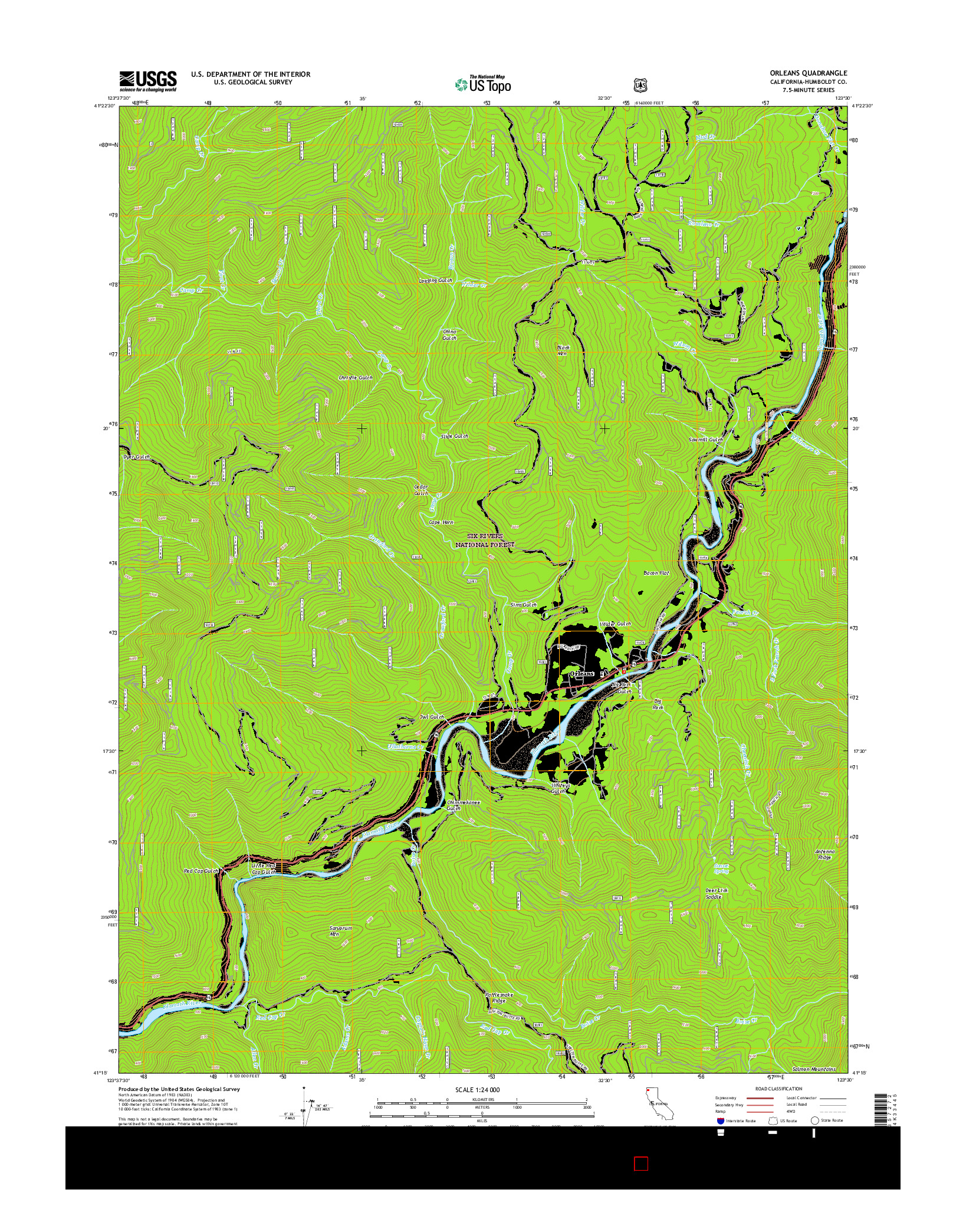 USGS US TOPO 7.5-MINUTE MAP FOR ORLEANS, CA 2015