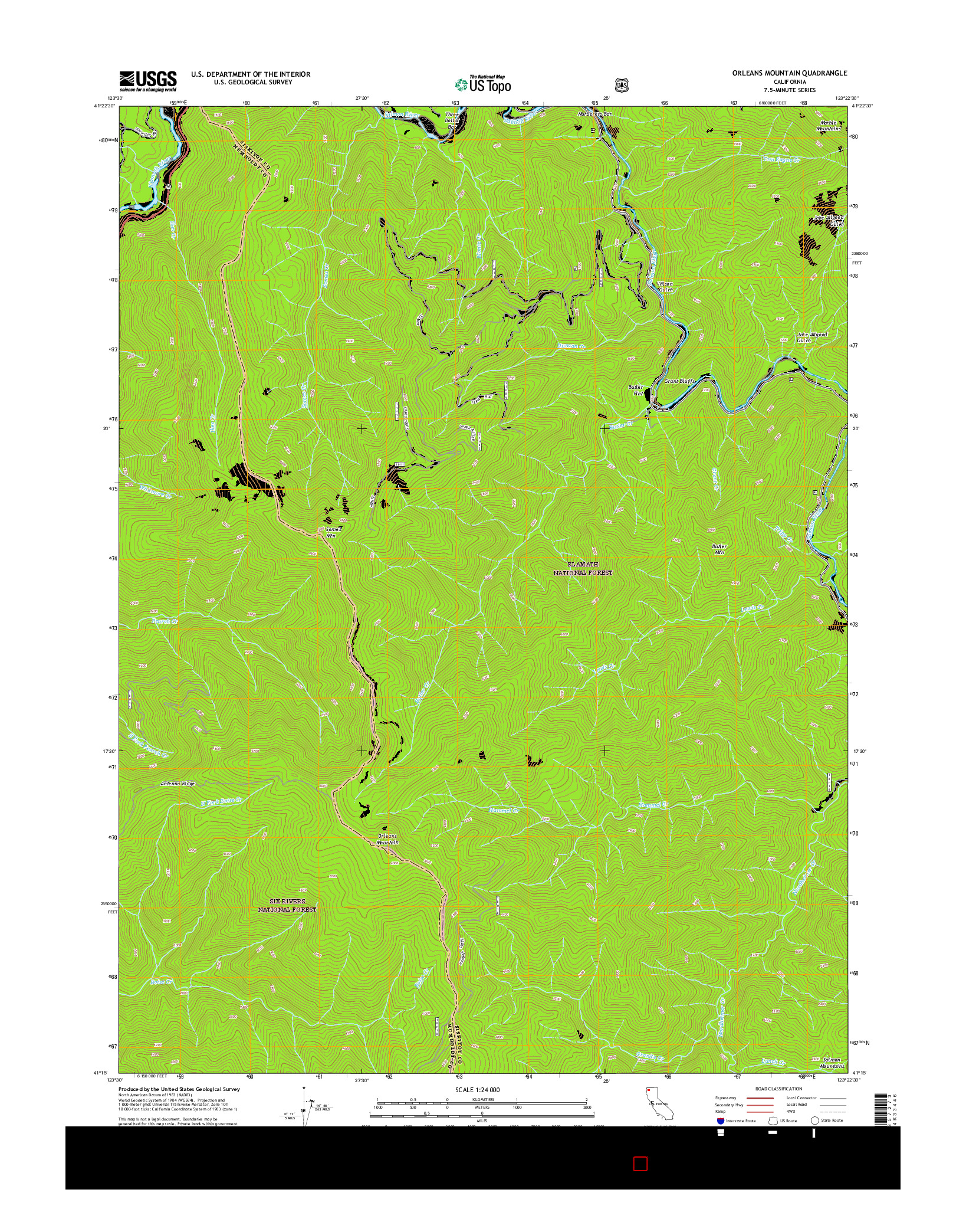 USGS US TOPO 7.5-MINUTE MAP FOR ORLEANS MOUNTAIN, CA 2015
