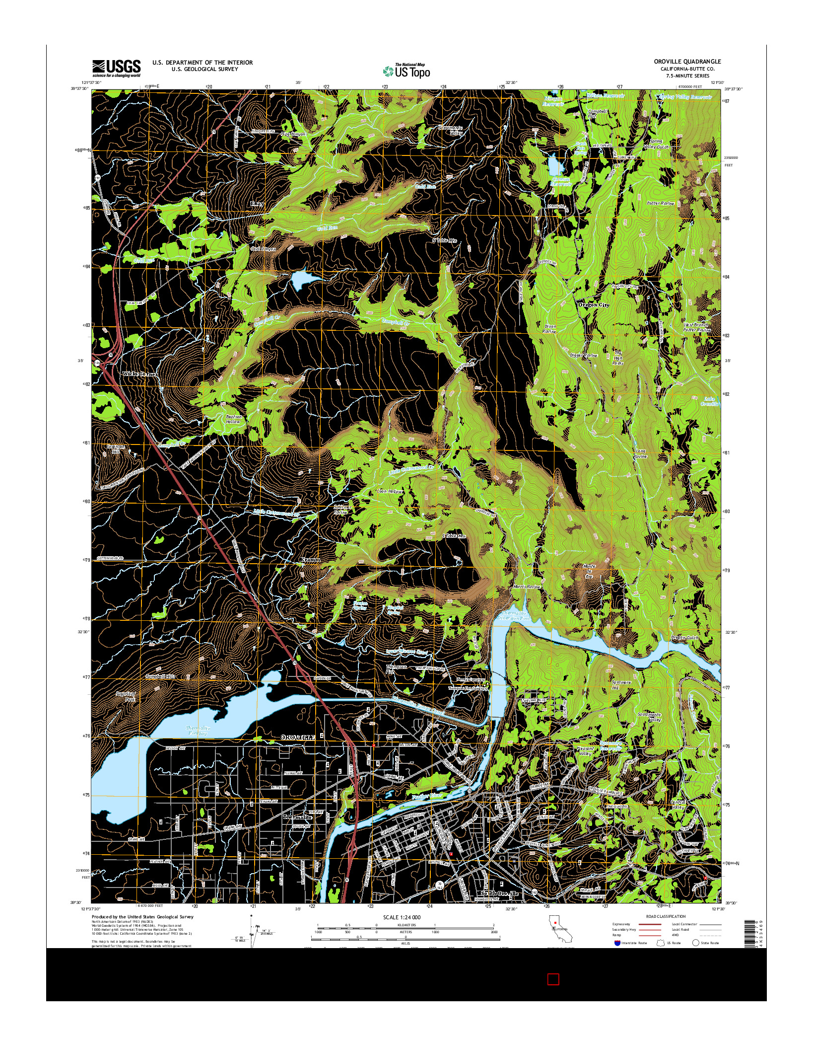 USGS US TOPO 7.5-MINUTE MAP FOR OROVILLE, CA 2015