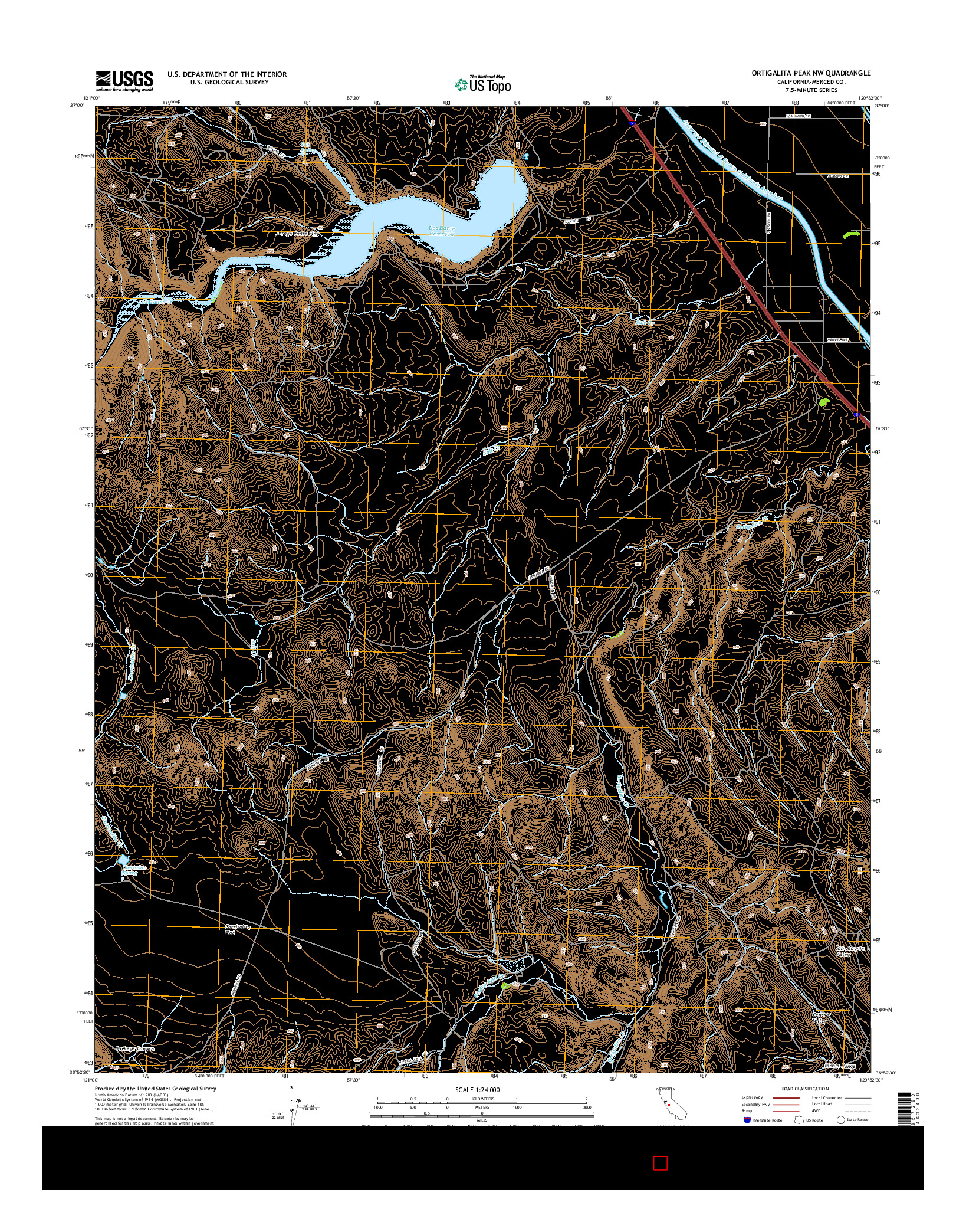 USGS US TOPO 7.5-MINUTE MAP FOR ORTIGALITA PEAK NW, CA 2015