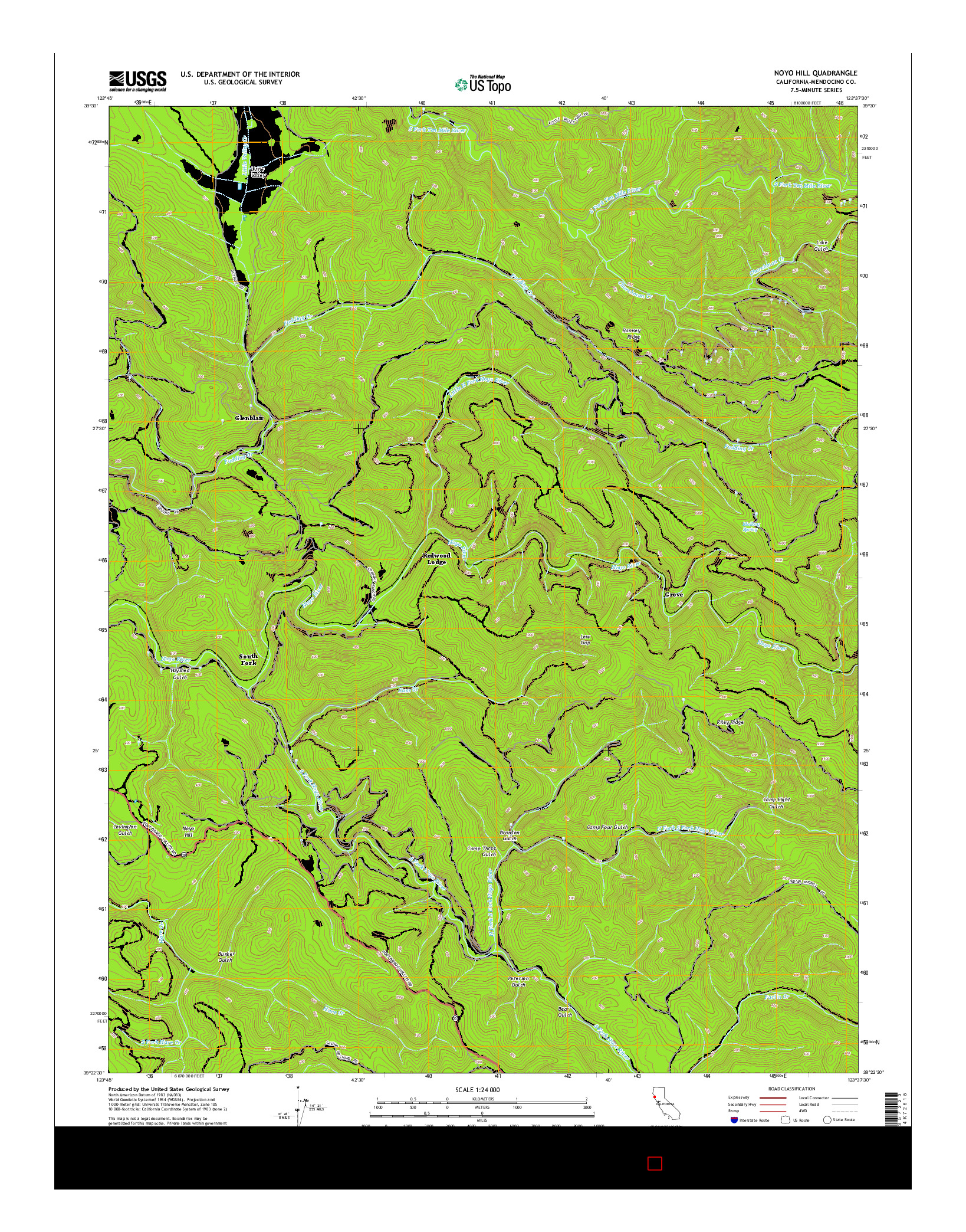 USGS US TOPO 7.5-MINUTE MAP FOR NOYO HILL, CA 2015