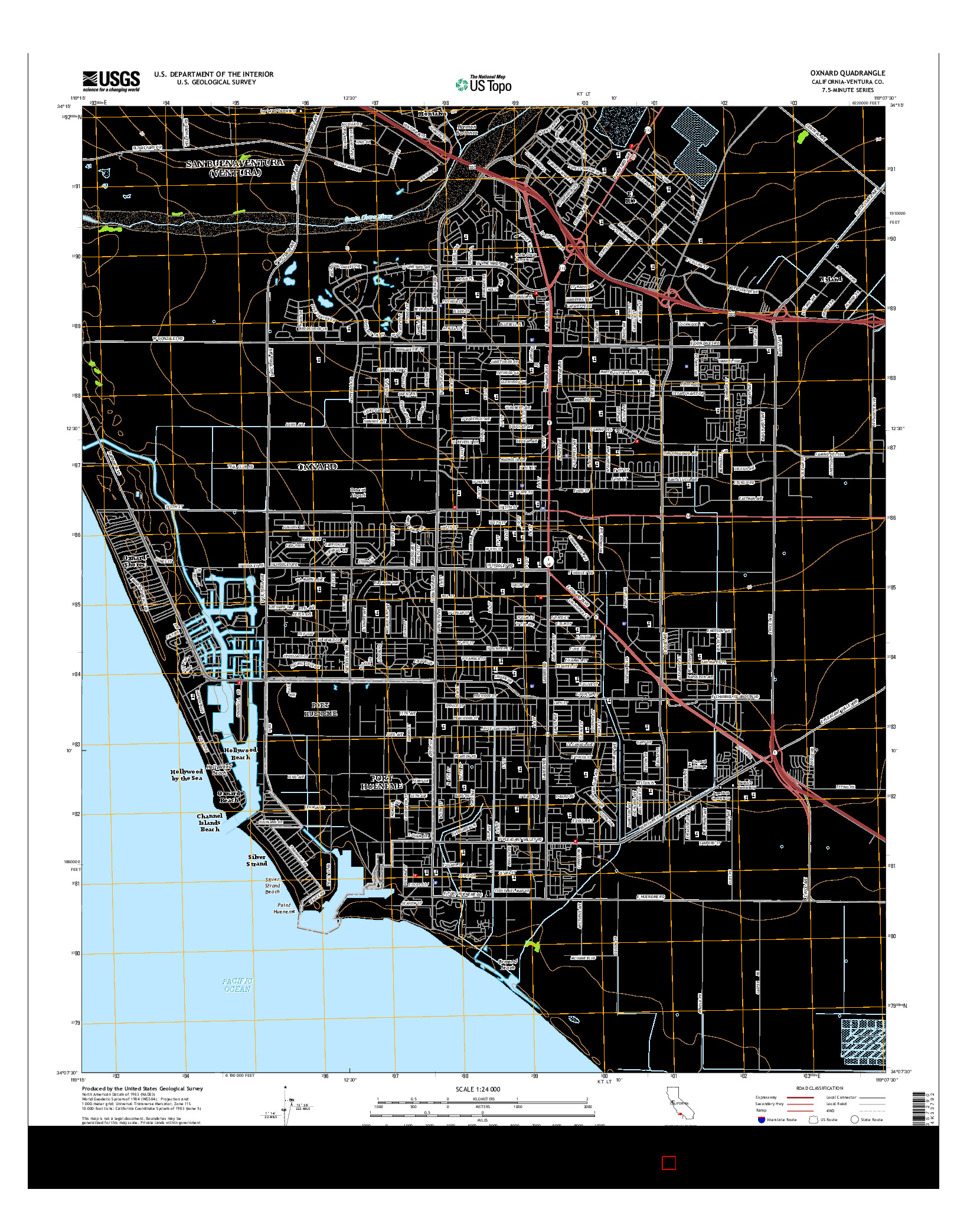 USGS US TOPO 7.5-MINUTE MAP FOR OXNARD, CA 2015