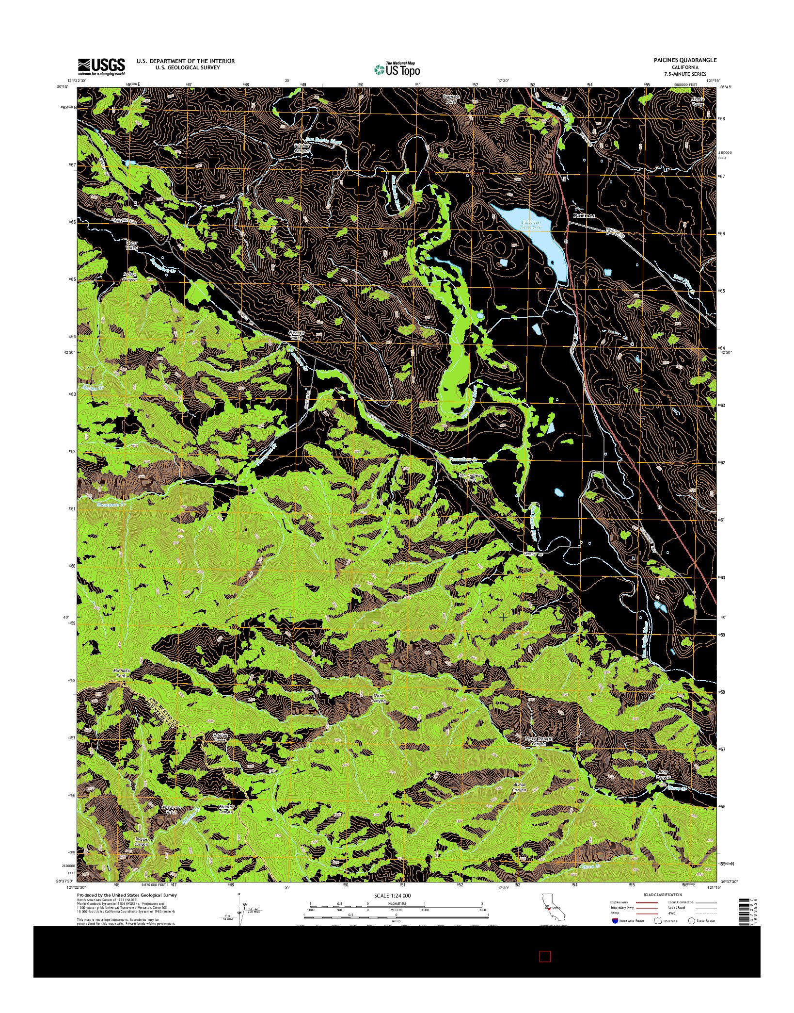 USGS US TOPO 7.5-MINUTE MAP FOR PAICINES, CA 2015