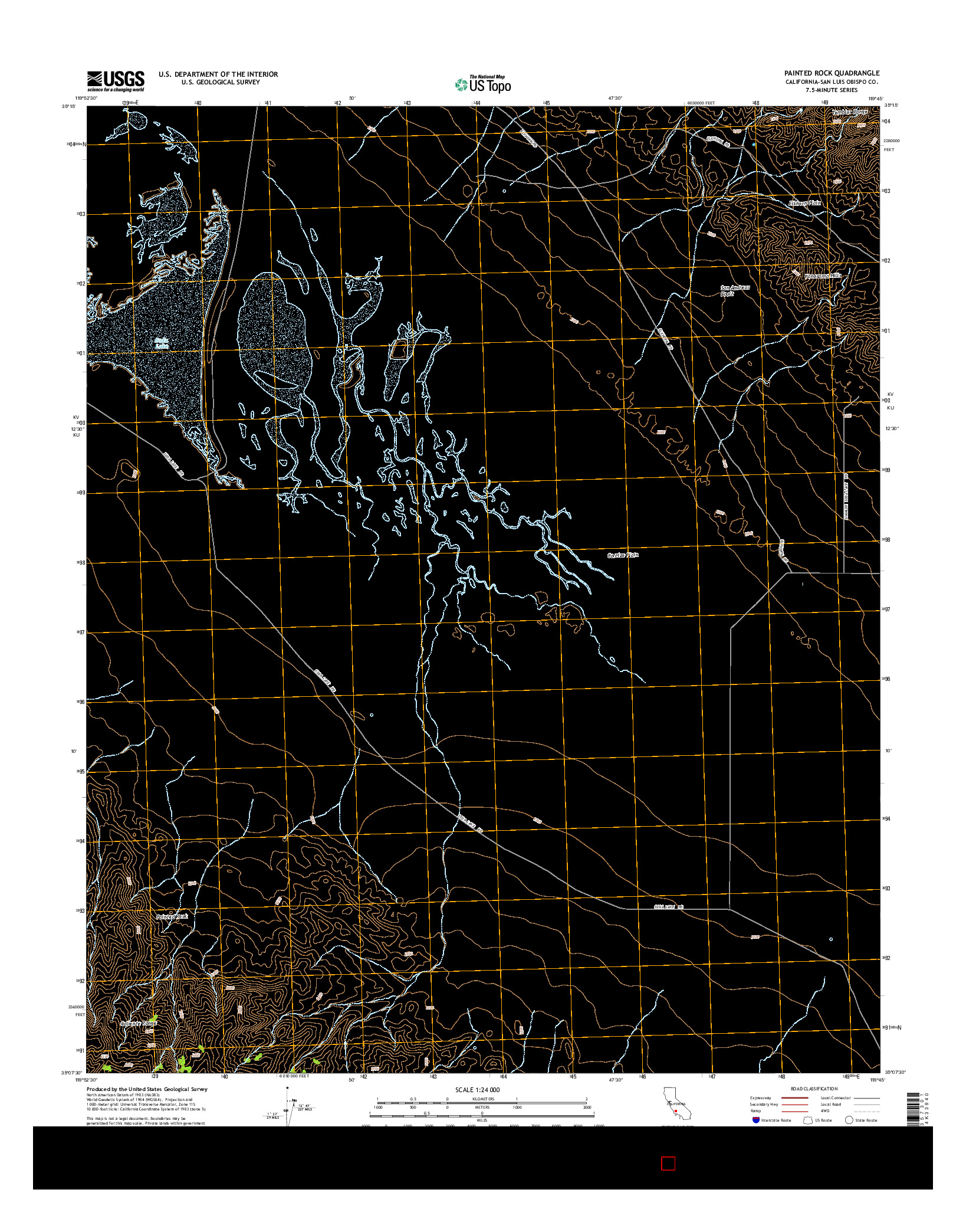 USGS US TOPO 7.5-MINUTE MAP FOR PAINTED ROCK, CA 2015