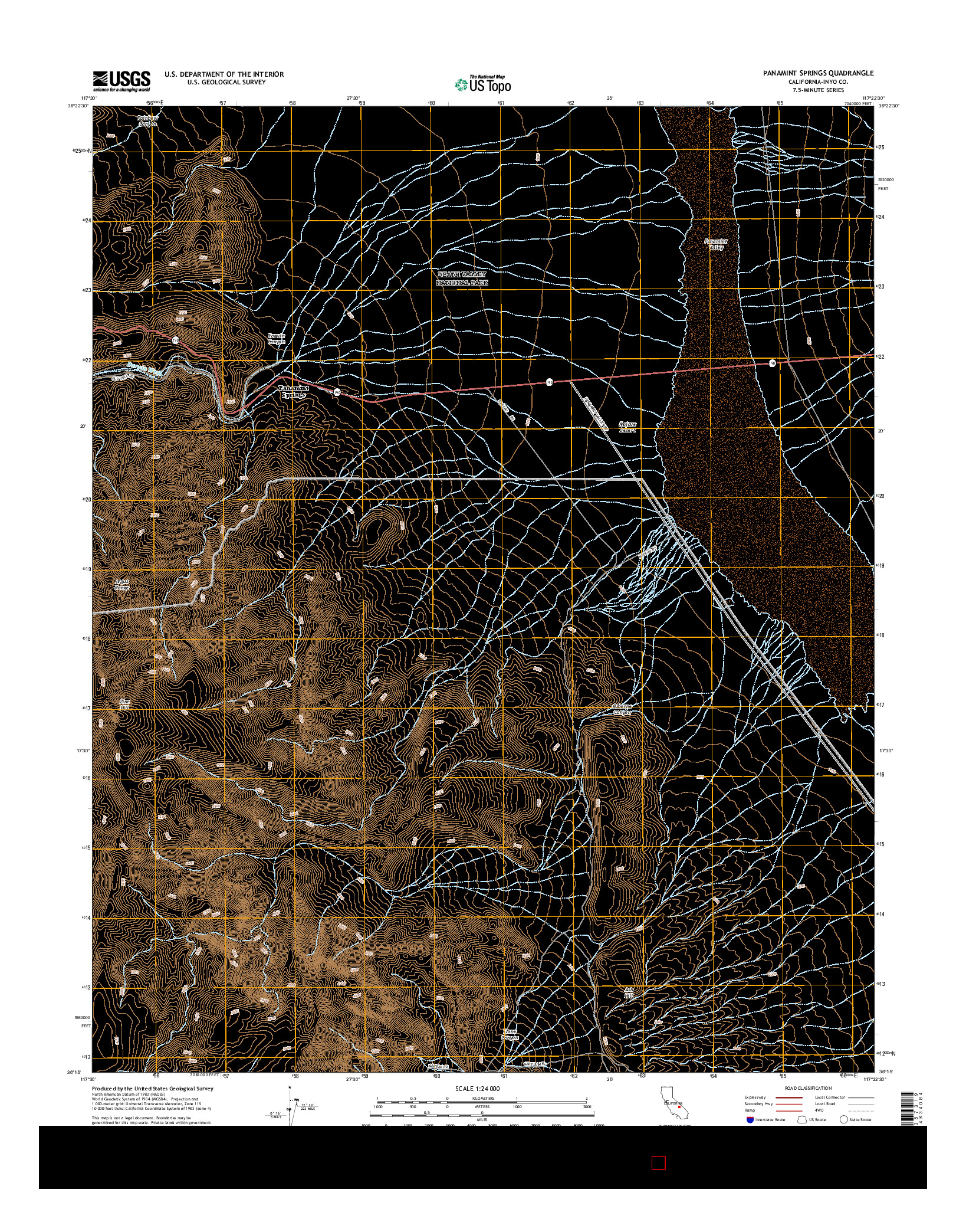USGS US TOPO 7.5-MINUTE MAP FOR PANAMINT SPRINGS, CA 2015
