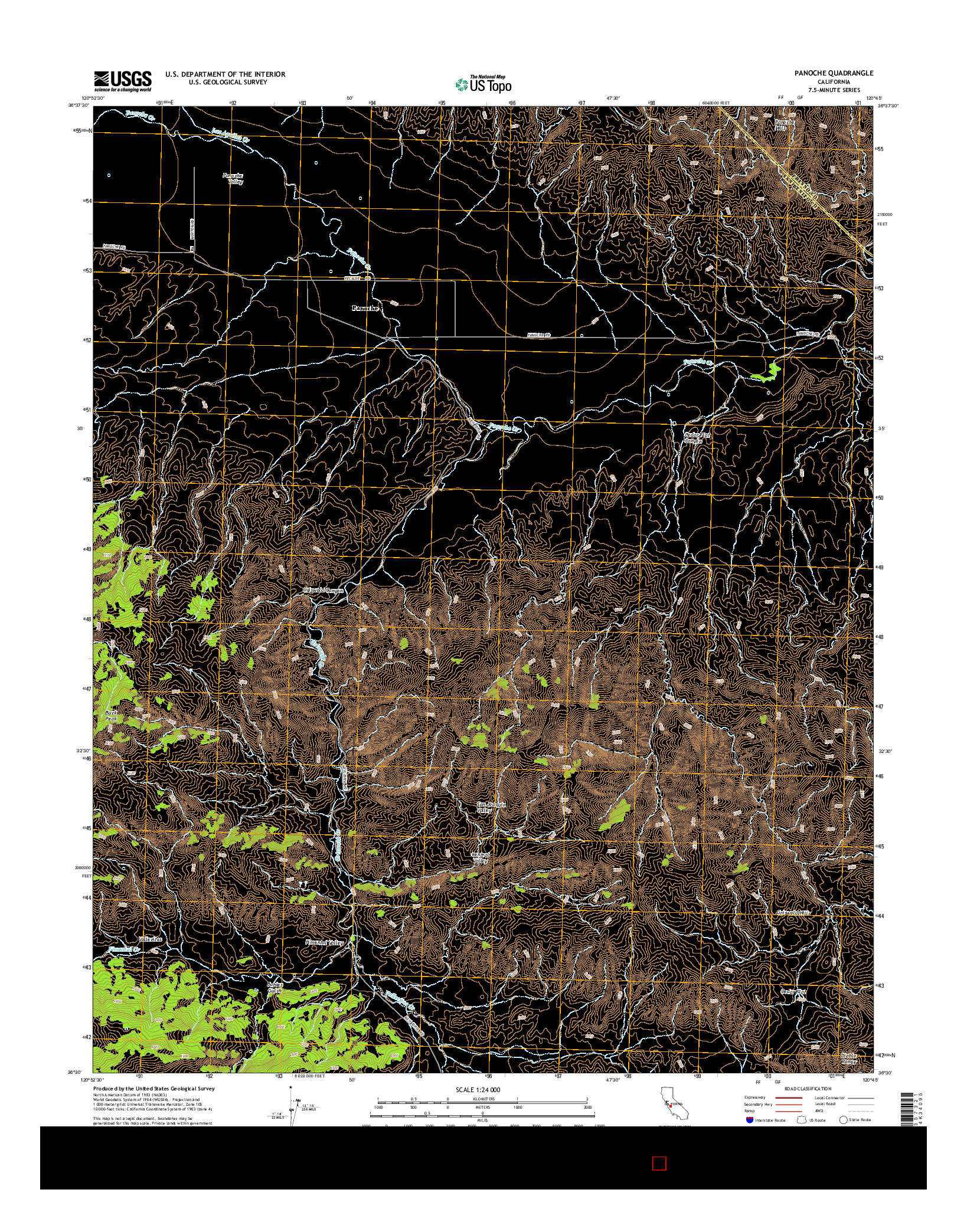 USGS US TOPO 7.5-MINUTE MAP FOR PANOCHE, CA 2015