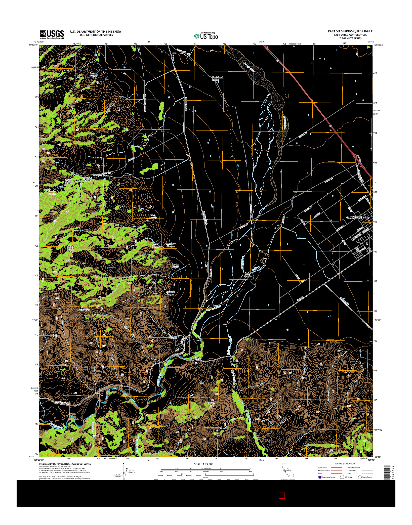 USGS US TOPO 7.5-MINUTE MAP FOR PARAISO SPRINGS, CA 2015