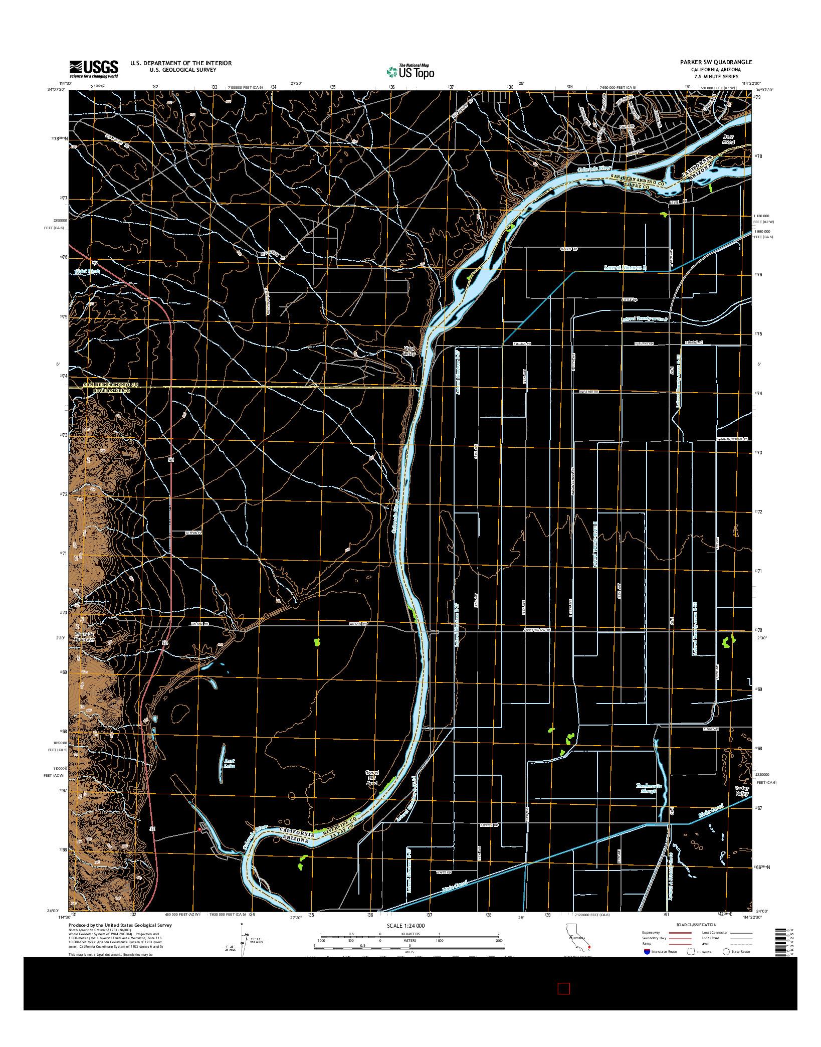 USGS US TOPO 7.5-MINUTE MAP FOR PARKER SW, CA-AZ 2015