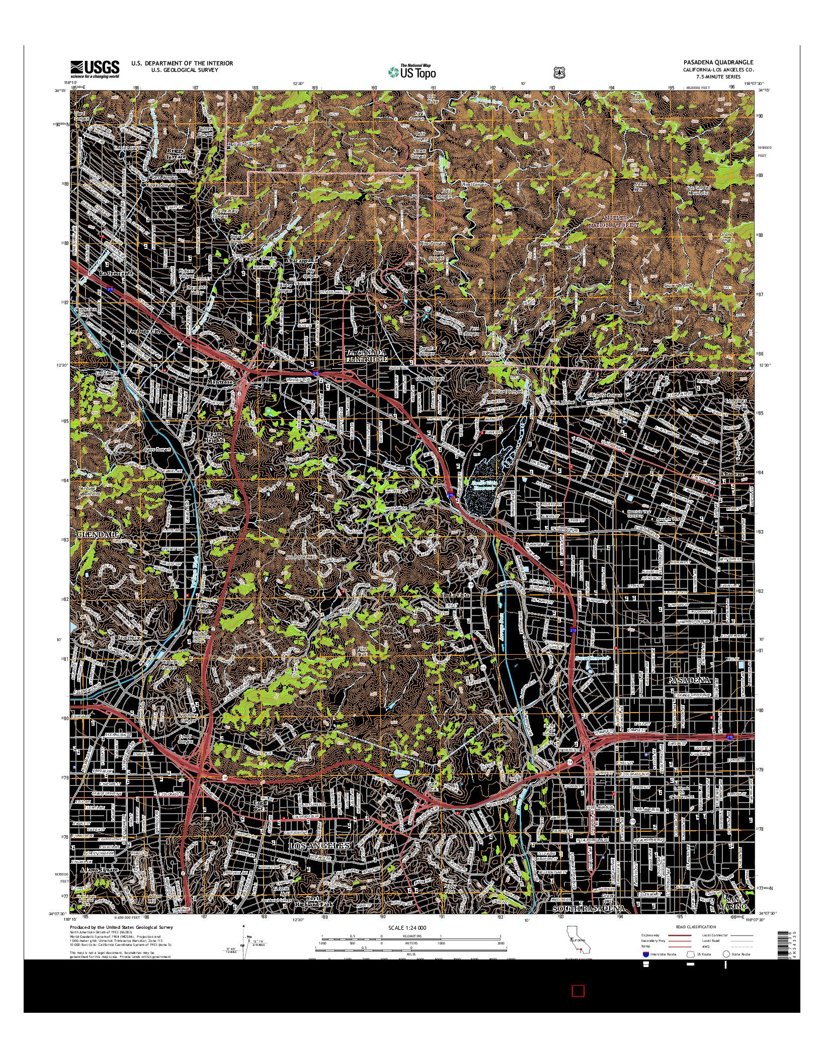 USGS US TOPO 7.5-MINUTE MAP FOR PASADENA, CA 2015