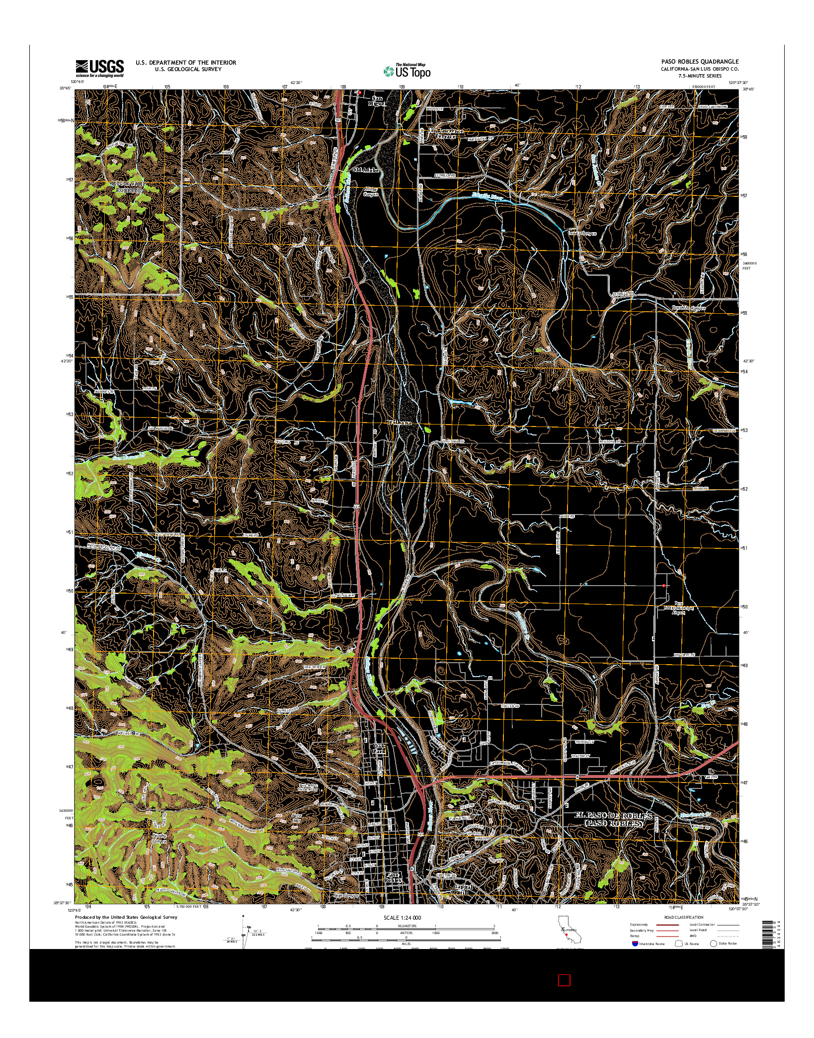 USGS US TOPO 7.5-MINUTE MAP FOR PASO ROBLES, CA 2015