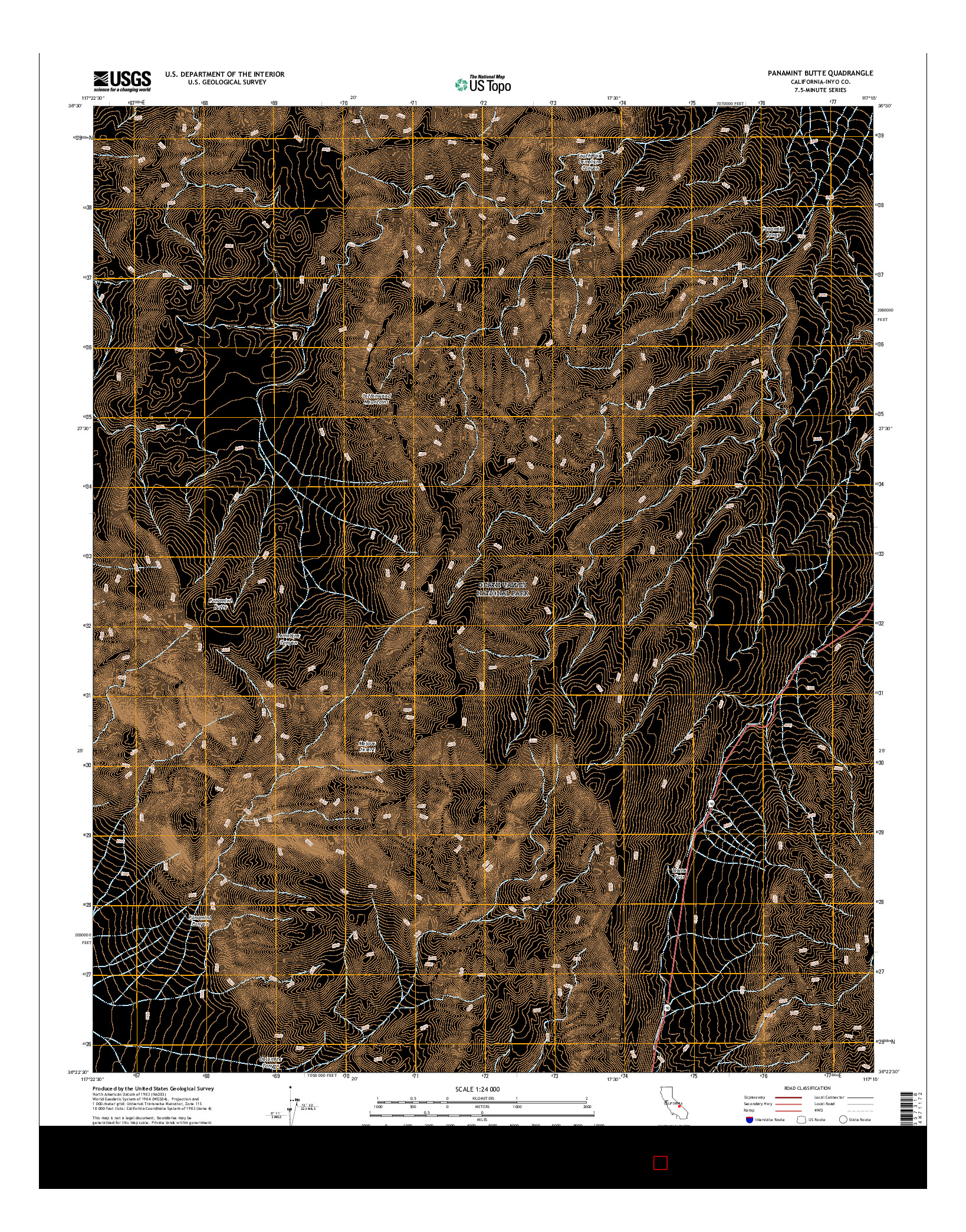 USGS US TOPO 7.5-MINUTE MAP FOR PANAMINT BUTTE, CA 2015