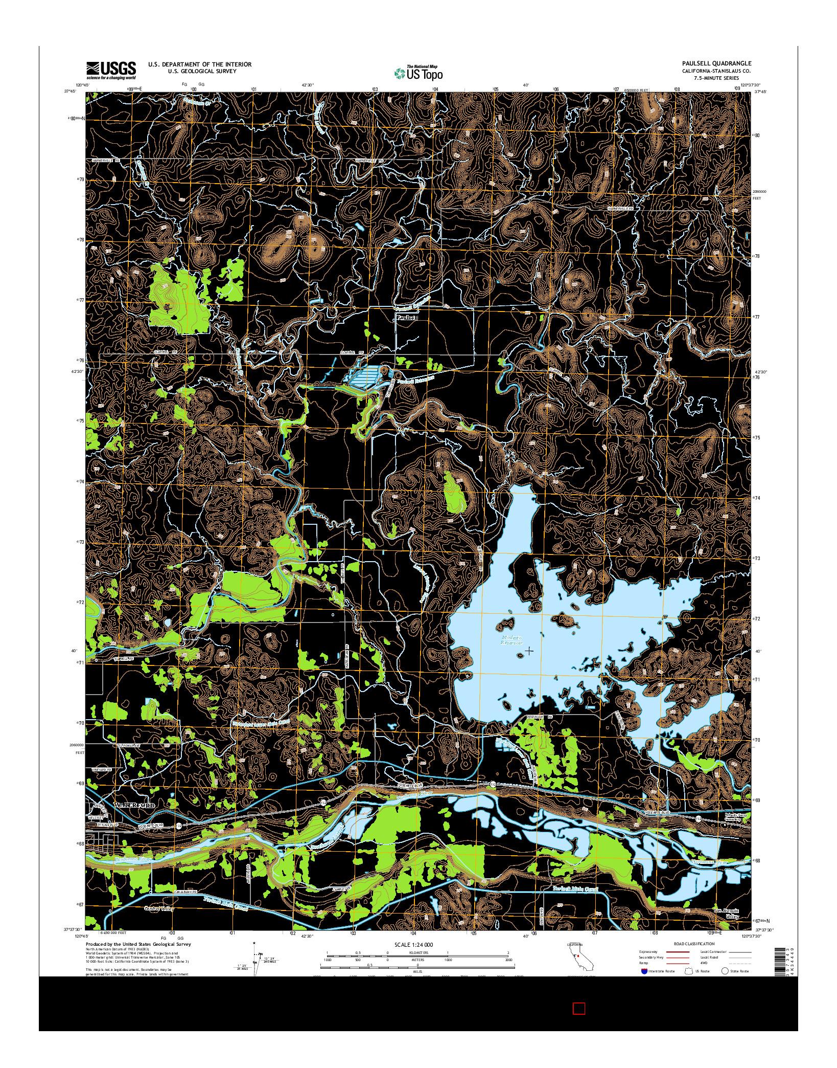 USGS US TOPO 7.5-MINUTE MAP FOR PAULSELL, CA 2015