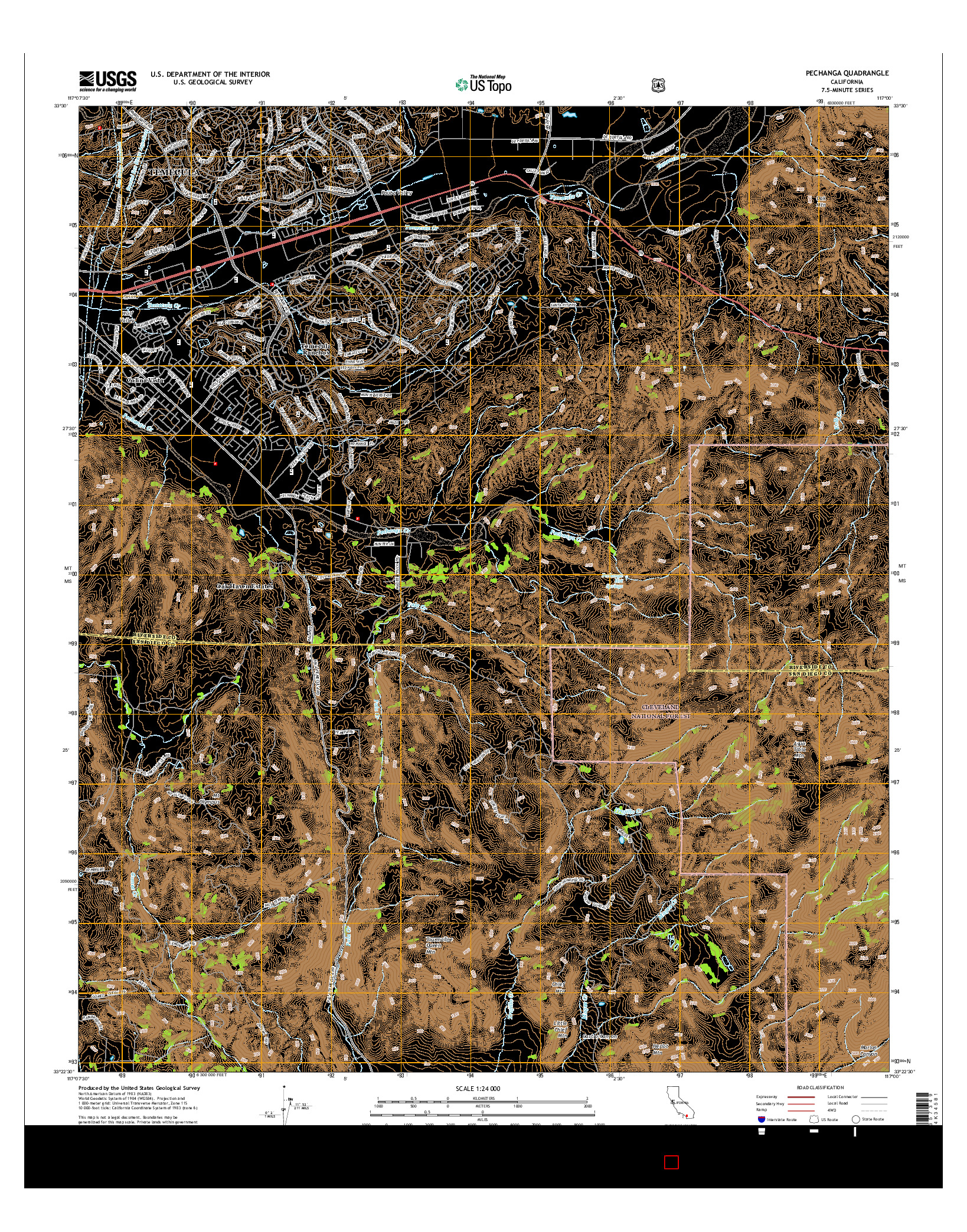 USGS US TOPO 7.5-MINUTE MAP FOR PECHANGA, CA 2015