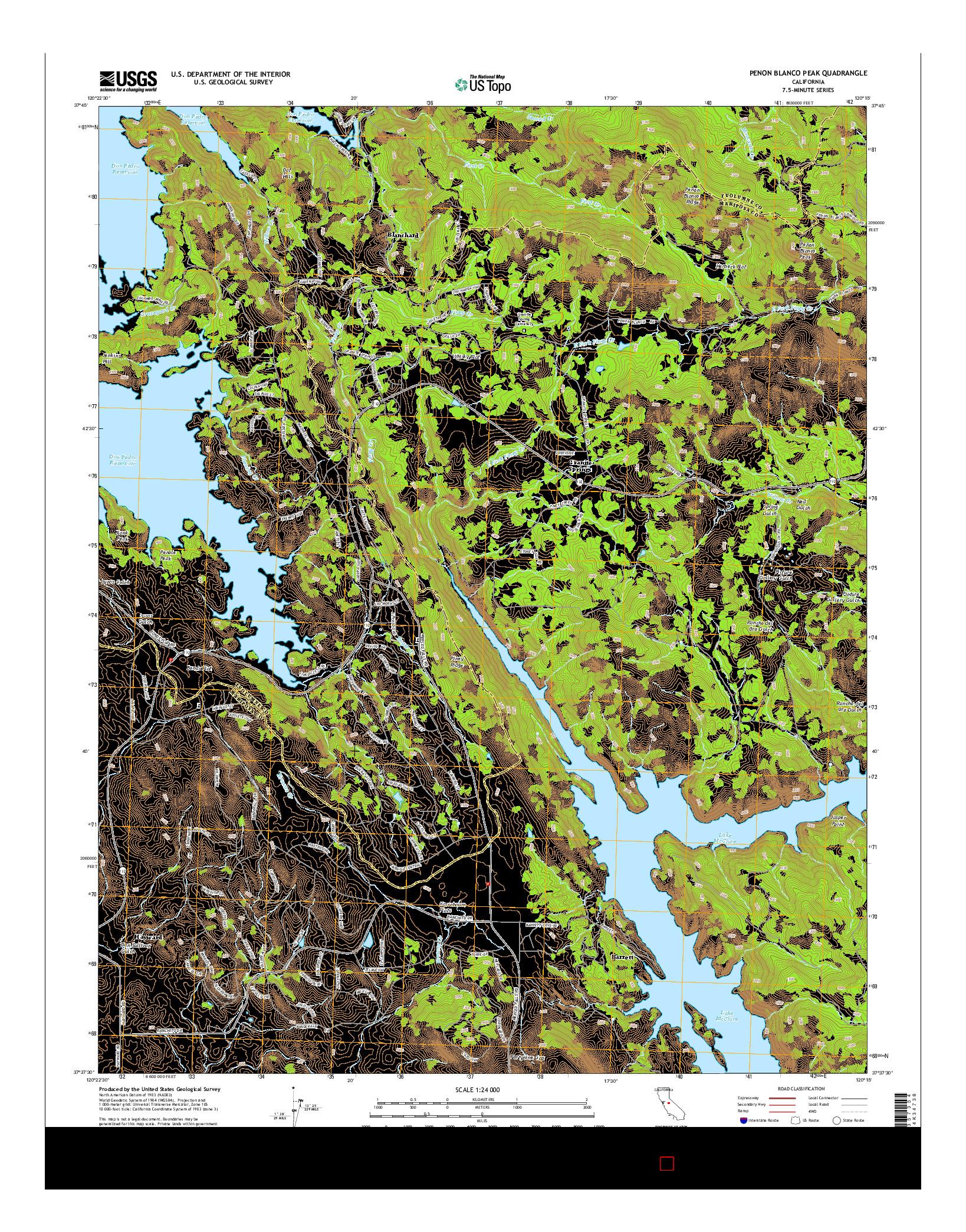 USGS US TOPO 7.5-MINUTE MAP FOR PENON BLANCO PEAK, CA 2015