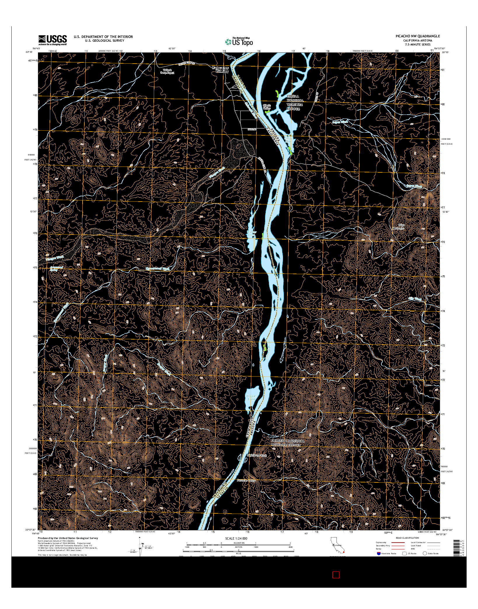 USGS US TOPO 7.5-MINUTE MAP FOR PICACHO NW, CA-AZ 2015
