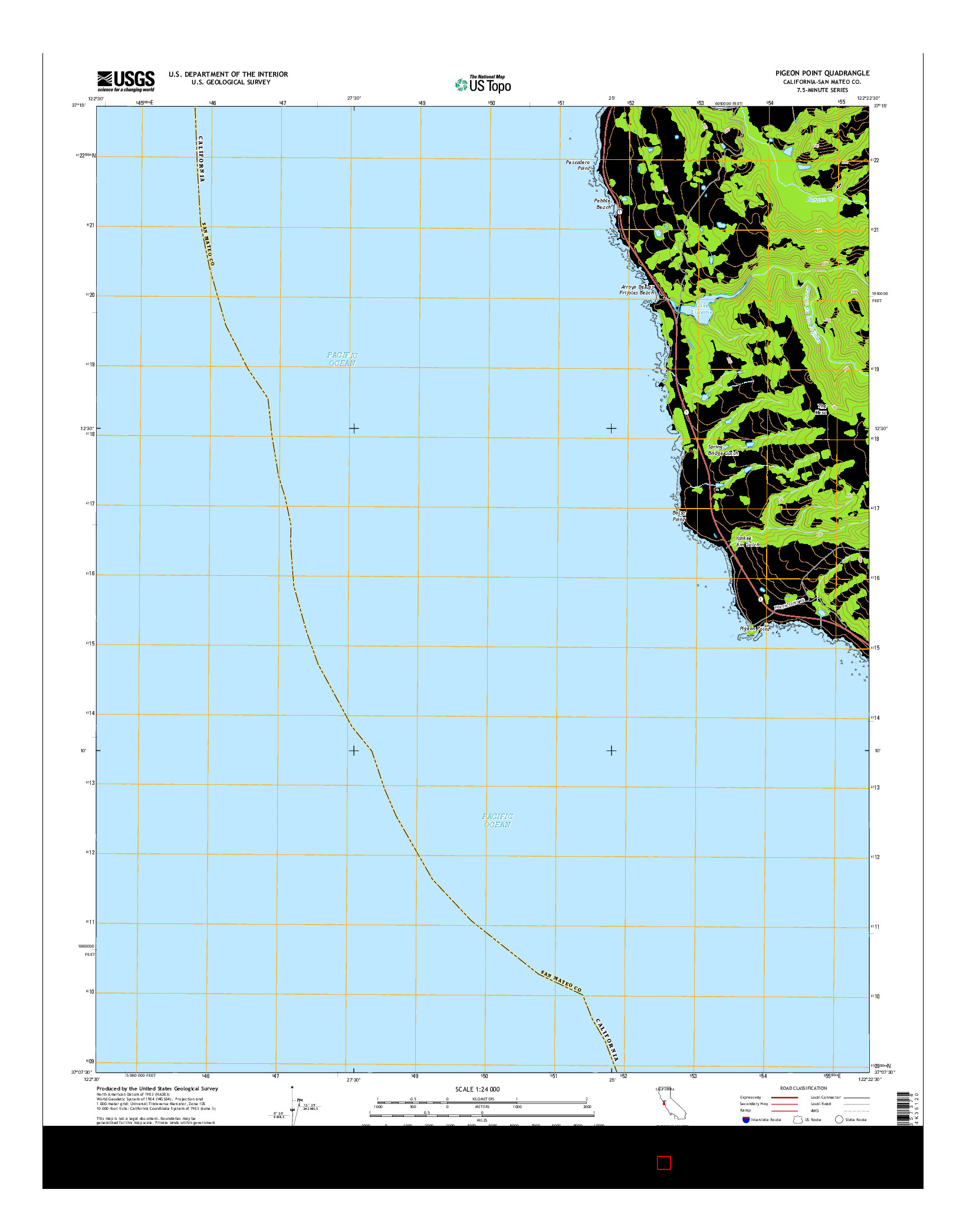 USGS US TOPO 7.5-MINUTE MAP FOR PIGEON POINT, CA 2015
