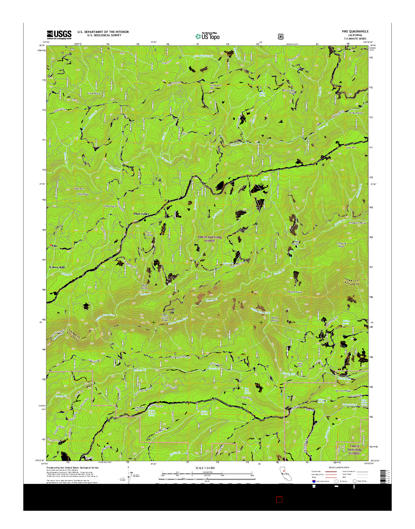 USGS US TOPO 7.5-MINUTE MAP FOR PIKE, CA 2015