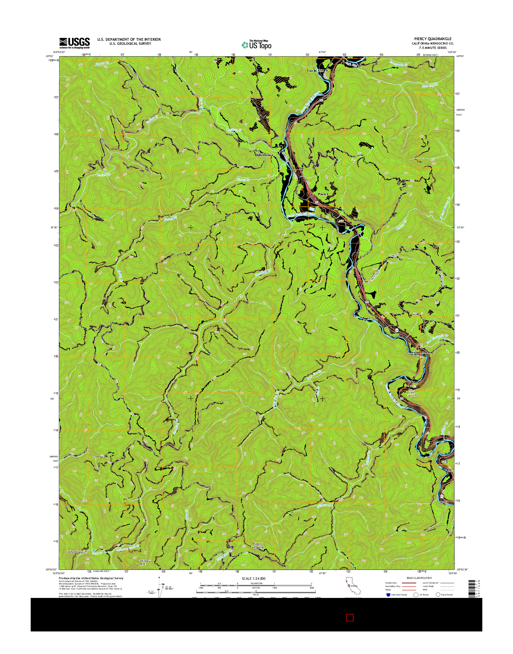 USGS US TOPO 7.5-MINUTE MAP FOR PIERCY, CA 2015
