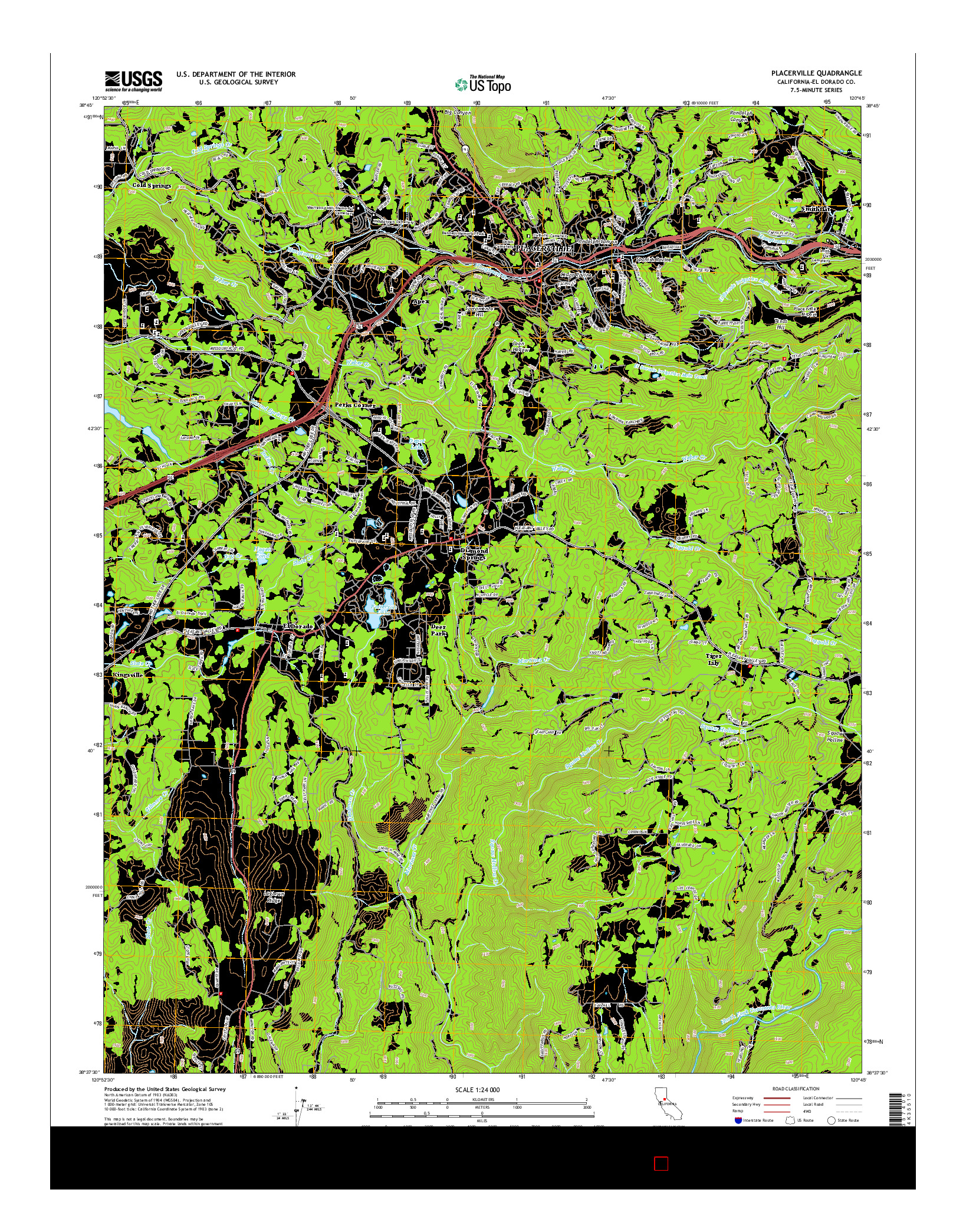 USGS US TOPO 7.5-MINUTE MAP FOR PLACERVILLE, CA 2015