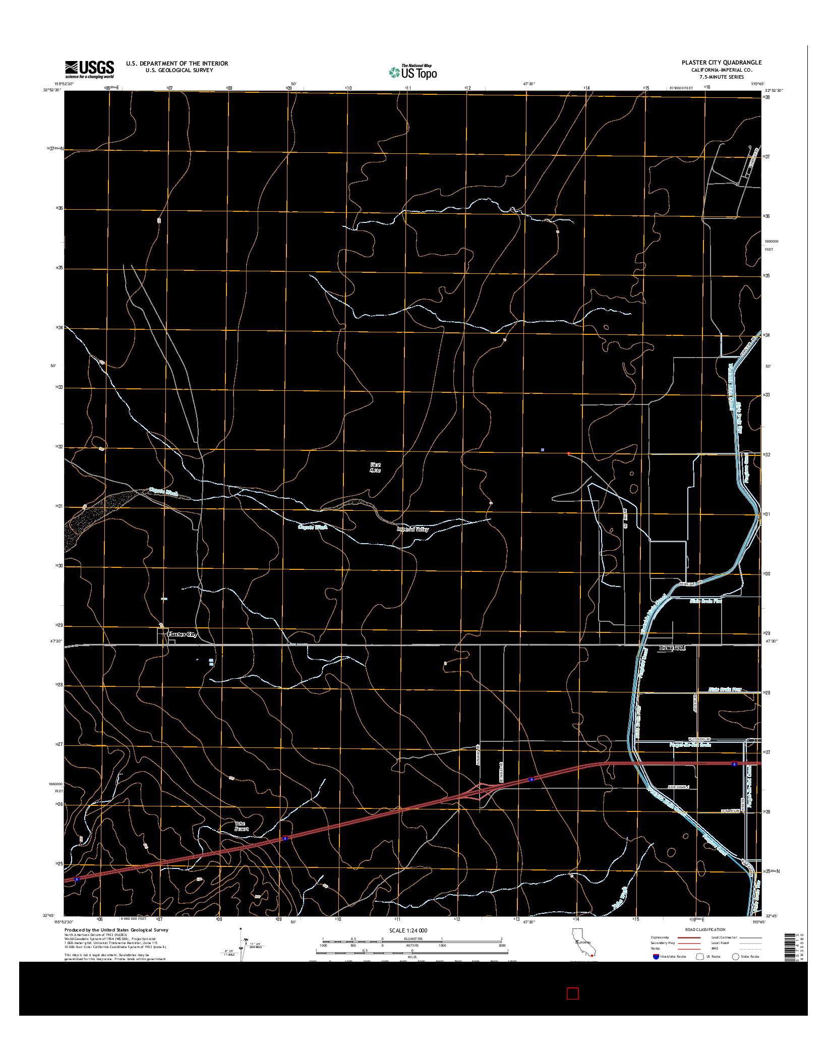 USGS US TOPO 7.5-MINUTE MAP FOR PLASTER CITY, CA 2015