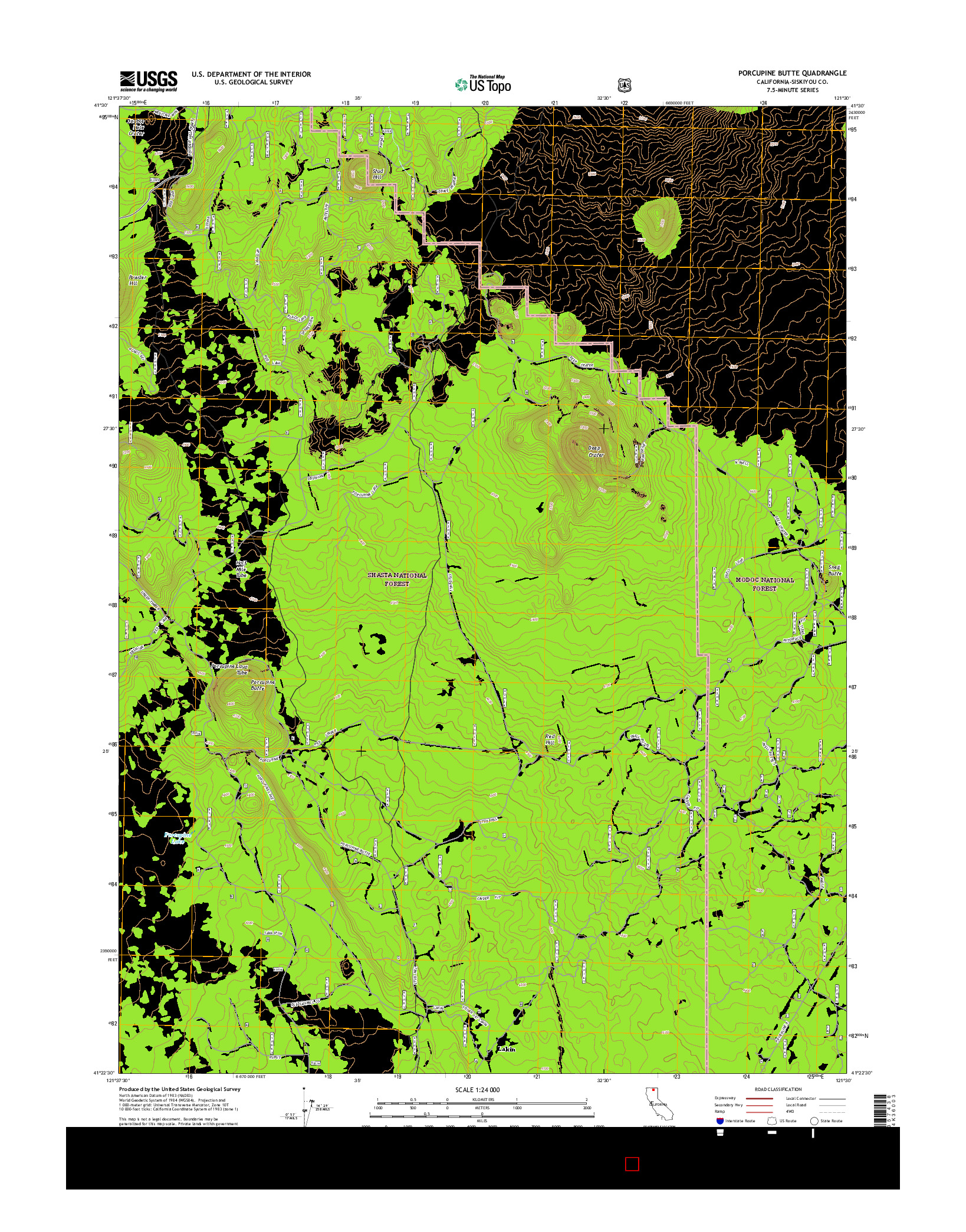 USGS US TOPO 7.5-MINUTE MAP FOR PORCUPINE BUTTE, CA 2015